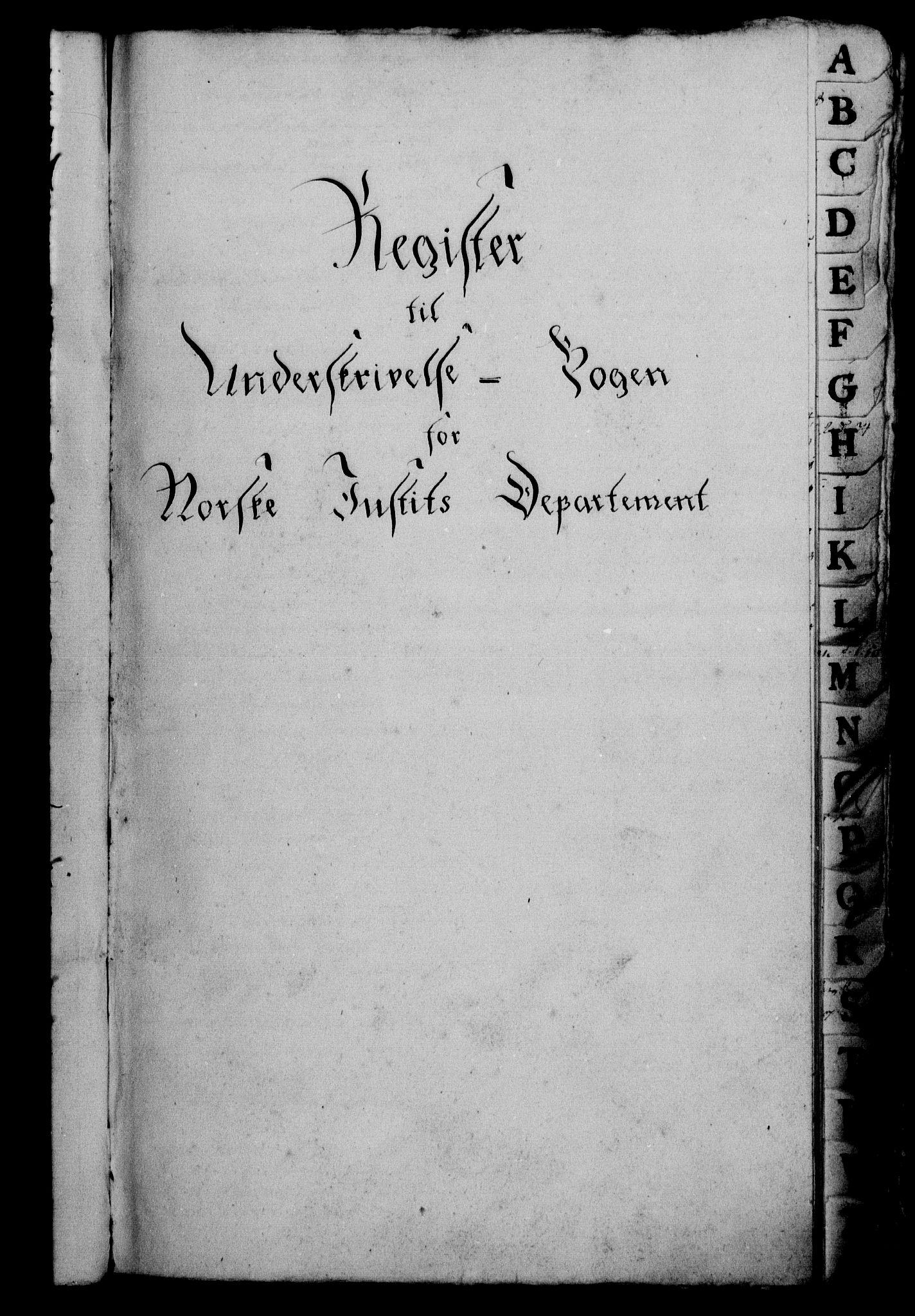RA, Danske Kanselli 1800-1814, H/Hf/Hfb/Hfbc/L0001: Underskrivelsesbok m. register, 1800