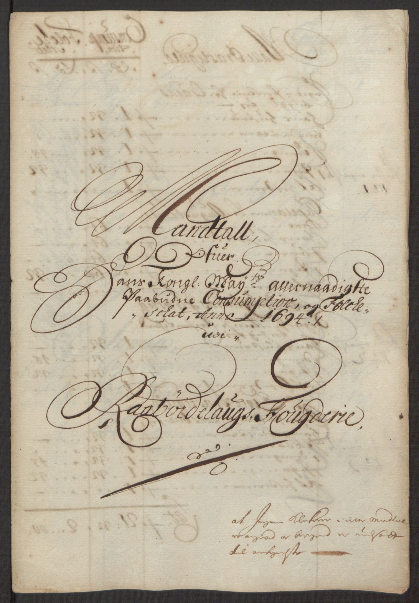 RA, Rentekammeret inntil 1814, Reviderte regnskaper, Fogderegnskap, R40/L2444: Fogderegnskap Råbyggelag, 1693-1696, s. 116