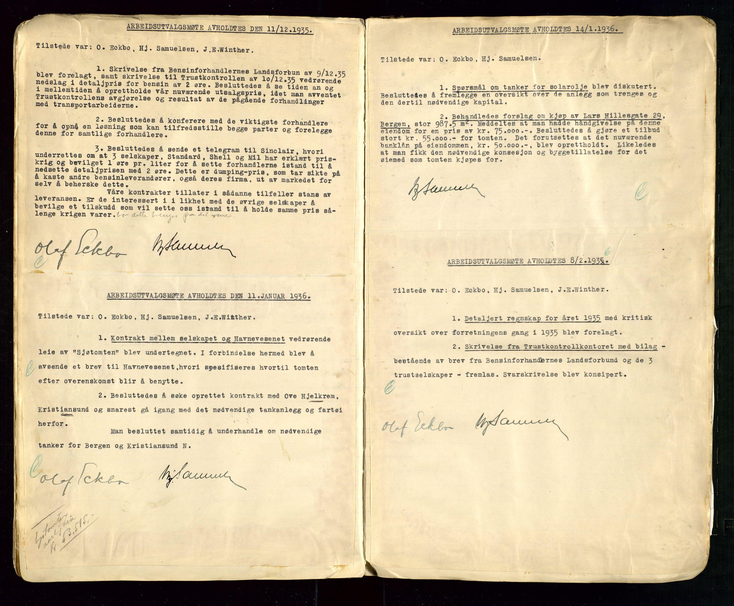 SAST, PA 1514 - Sporveienes Bensindepot, Norsk Oljeraffineri A/S, A/L0002: Forhandlingsprotokoll Arbeidsutvaget, 1932-1946, s. 55