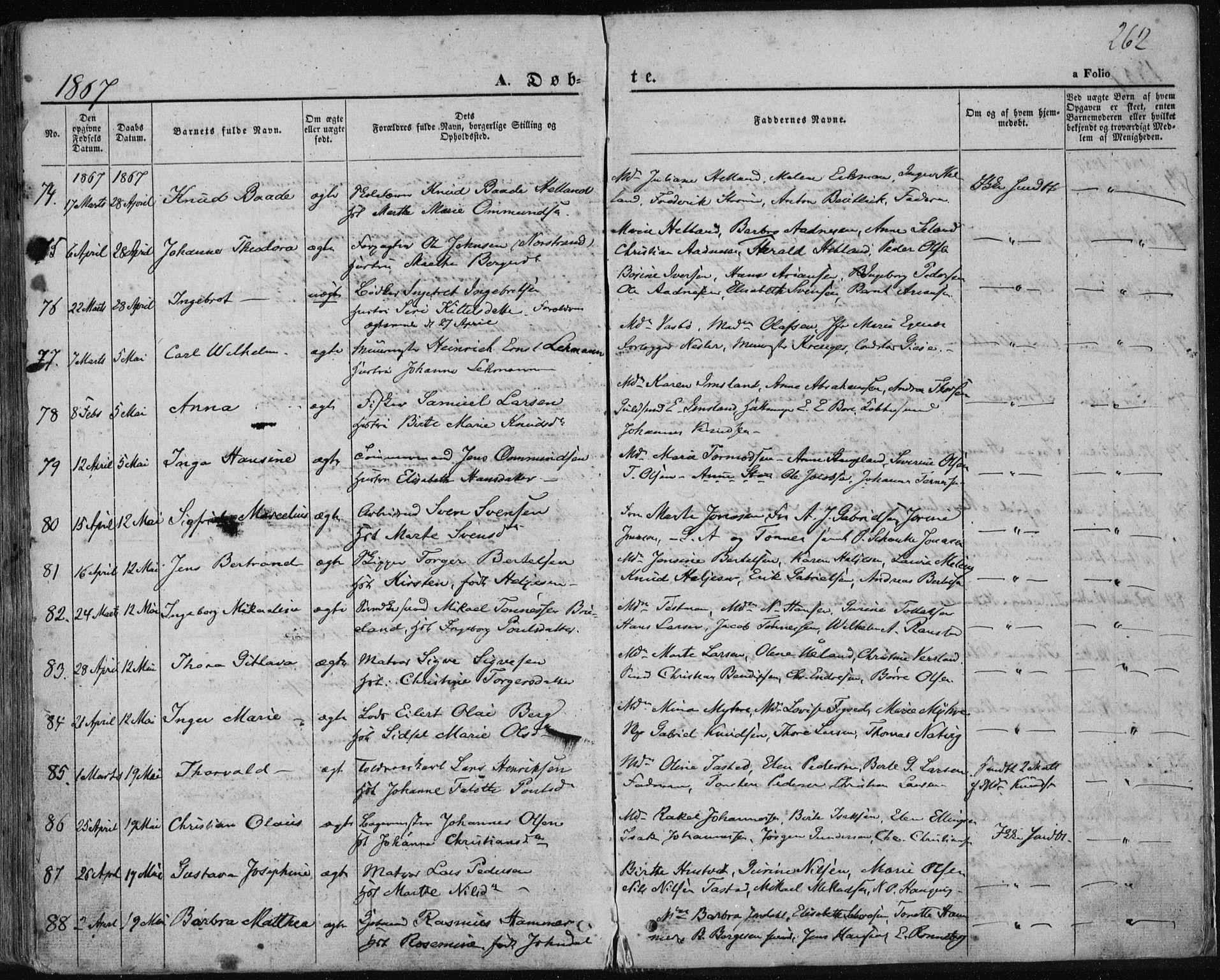 SAST, Domkirken sokneprestkontor, 30/30BA/L0017: Ministerialbok nr. A 16, 1855-1867, s. 262