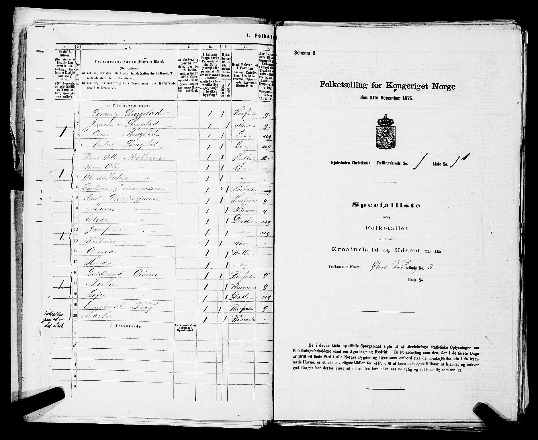 RA, Folketelling 1875 for 0301 Kristiania kjøpstad, 1875, s. 79