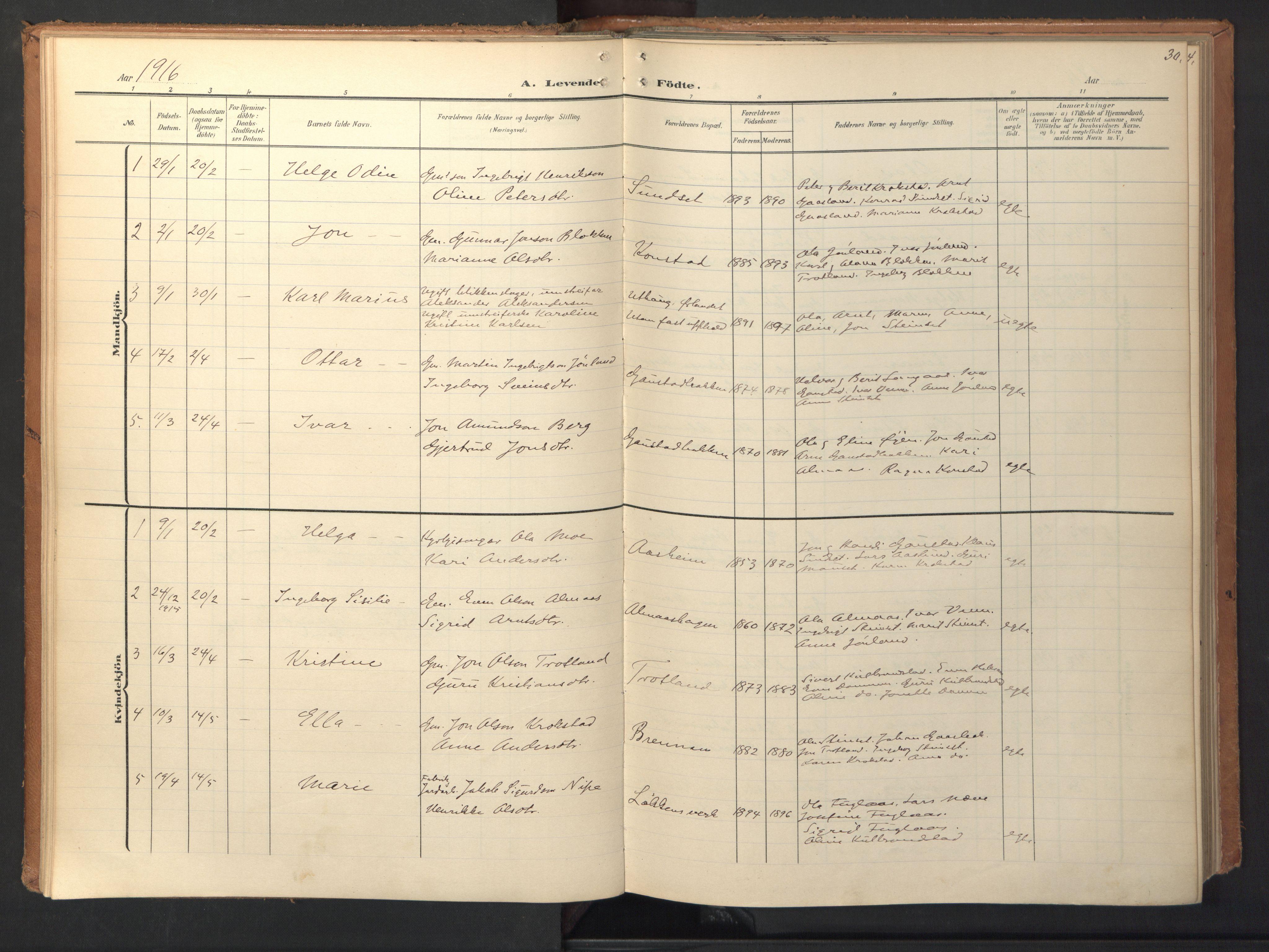SAT, Ministerialprotokoller, klokkerbøker og fødselsregistre - Sør-Trøndelag, 694/L1128: Ministerialbok nr. 694A02, 1906-1931, s. 30