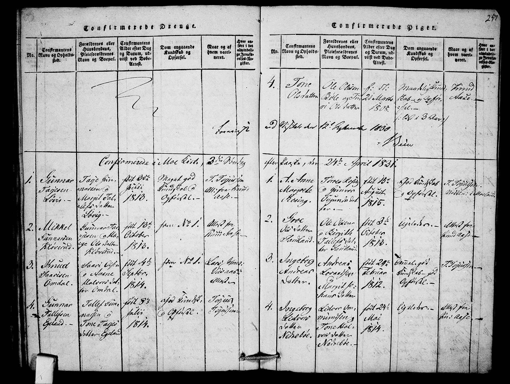 SAKO, Mo kirkebøker, F/Fb/L0001: Ministerialbok nr. II 1, 1814-1844, s. 257