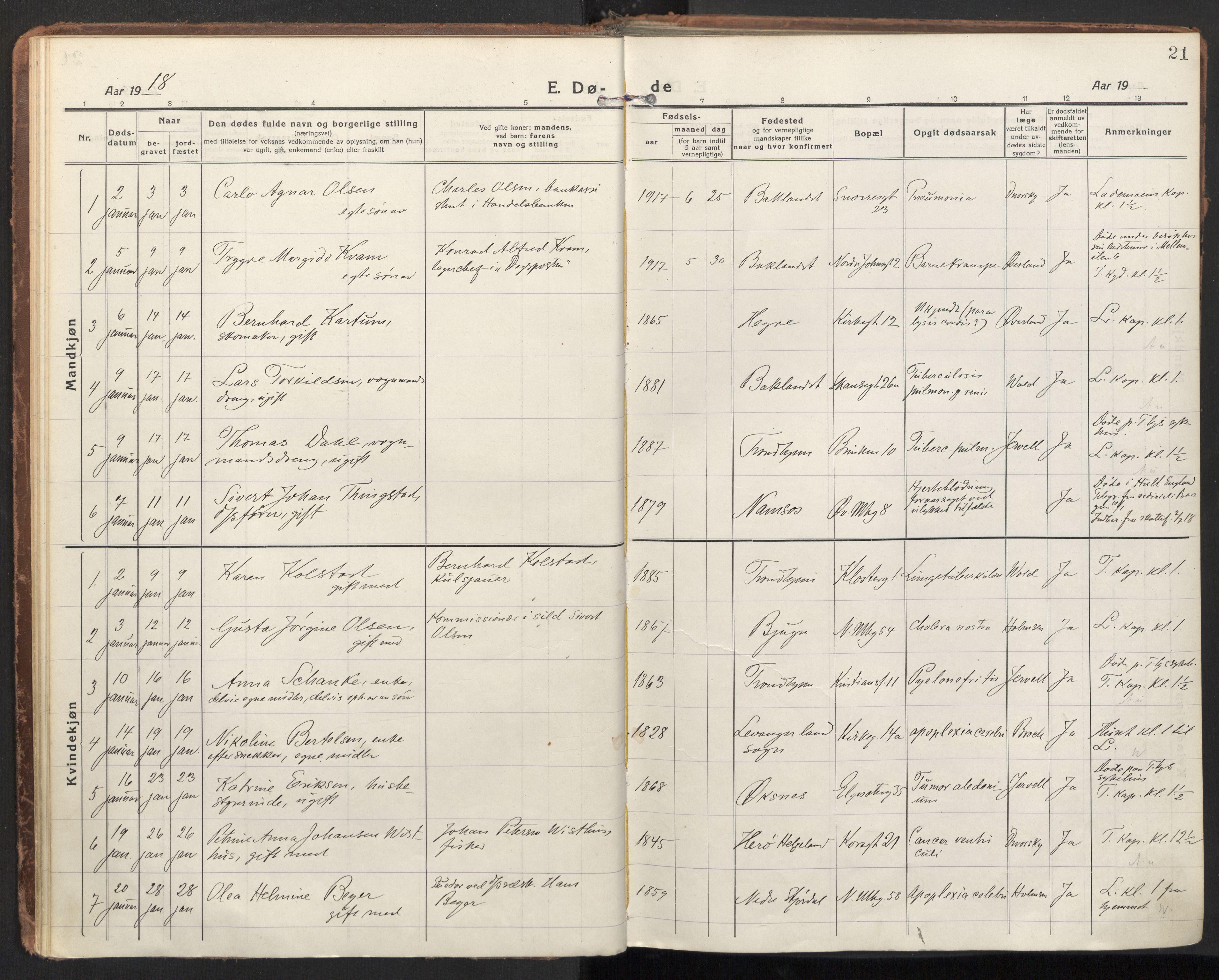SAT, Ministerialprotokoller, klokkerbøker og fødselsregistre - Sør-Trøndelag, 604/L0207: Ministerialbok nr. 604A27, 1917-1933, s. 21