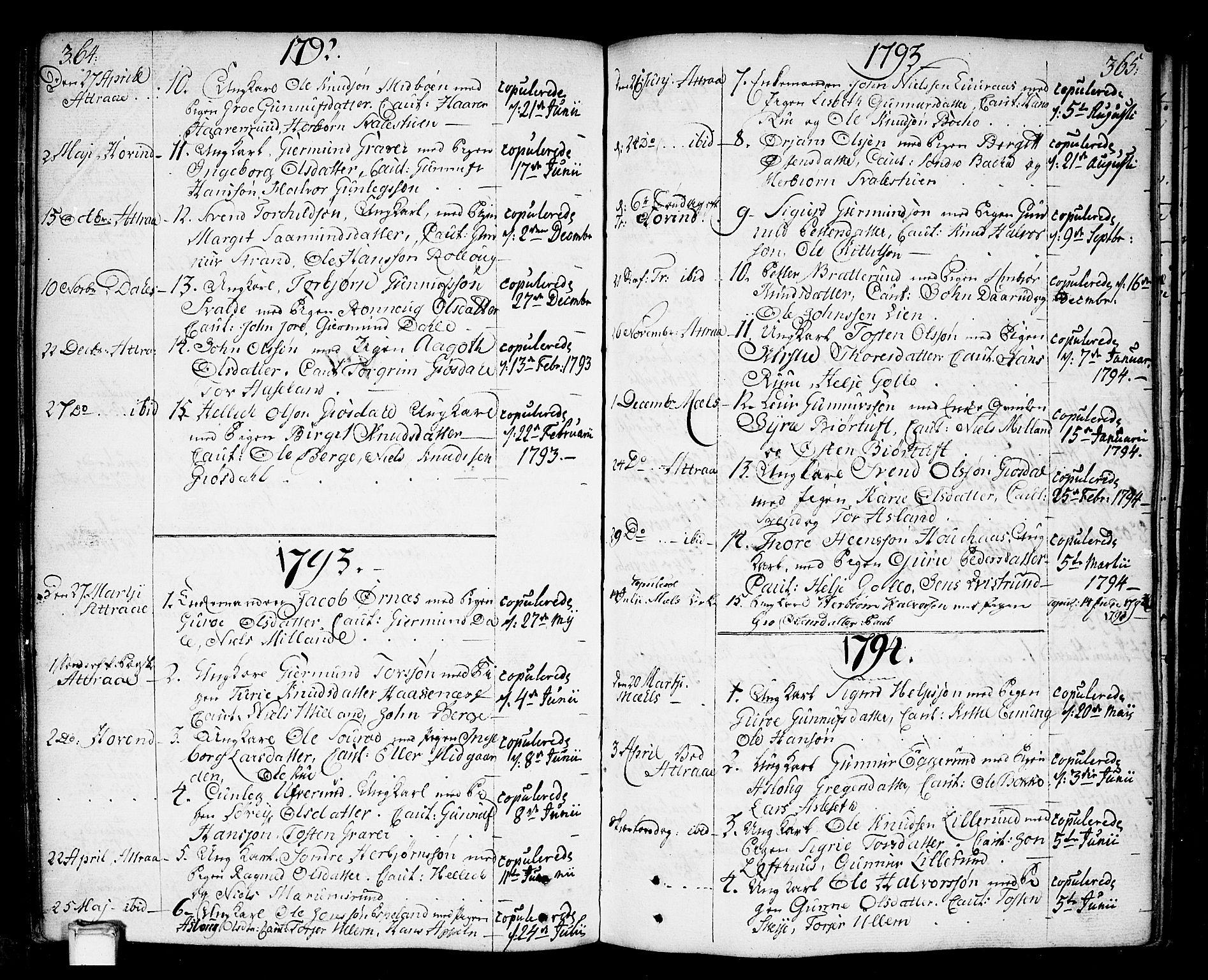 SAKO, Tinn kirkebøker, F/Fa/L0002: Ministerialbok nr. I 2, 1757-1810, s. 364-365