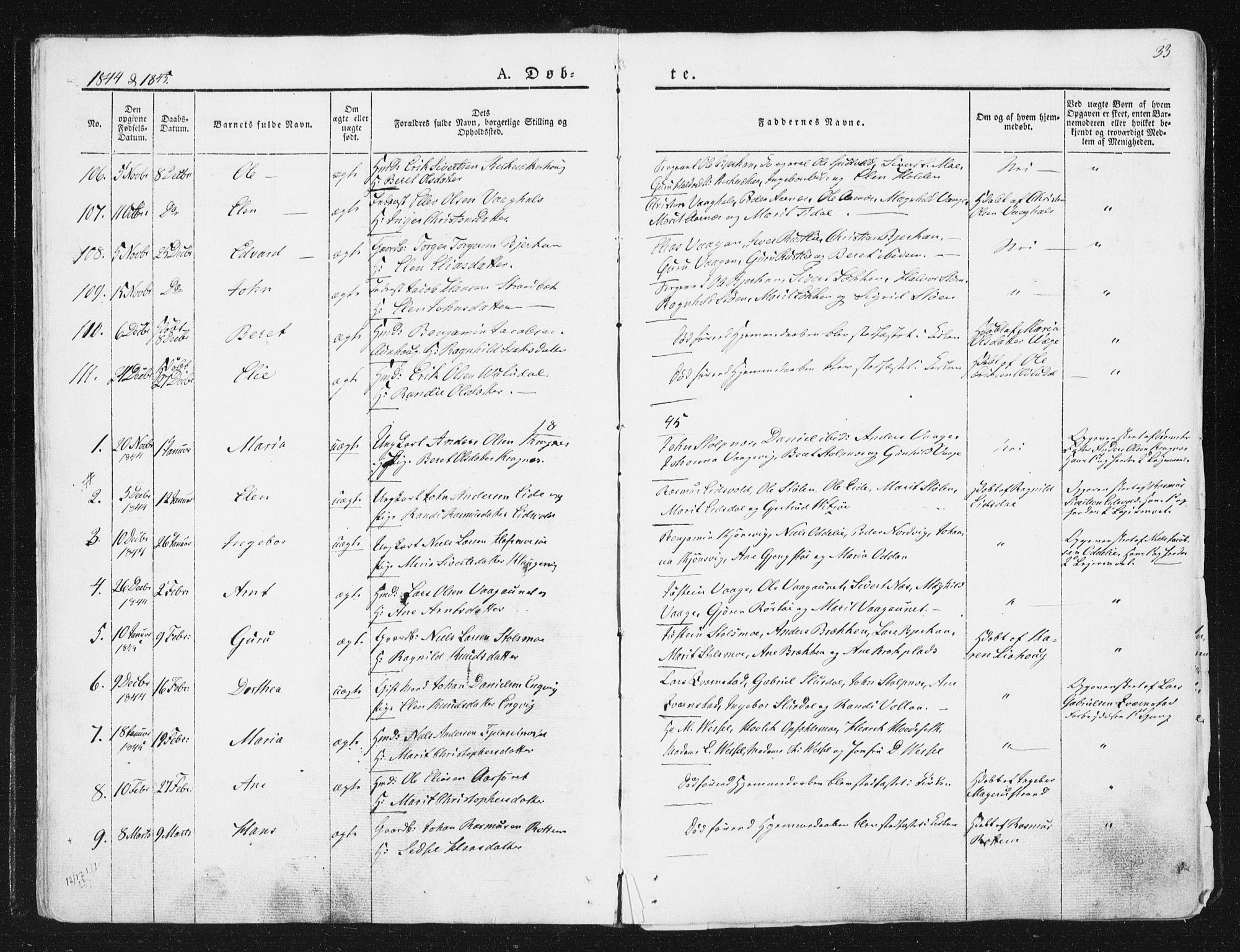 SAT, Ministerialprotokoller, klokkerbøker og fødselsregistre - Sør-Trøndelag, 630/L0493: Ministerialbok nr. 630A06, 1841-1851, s. 33