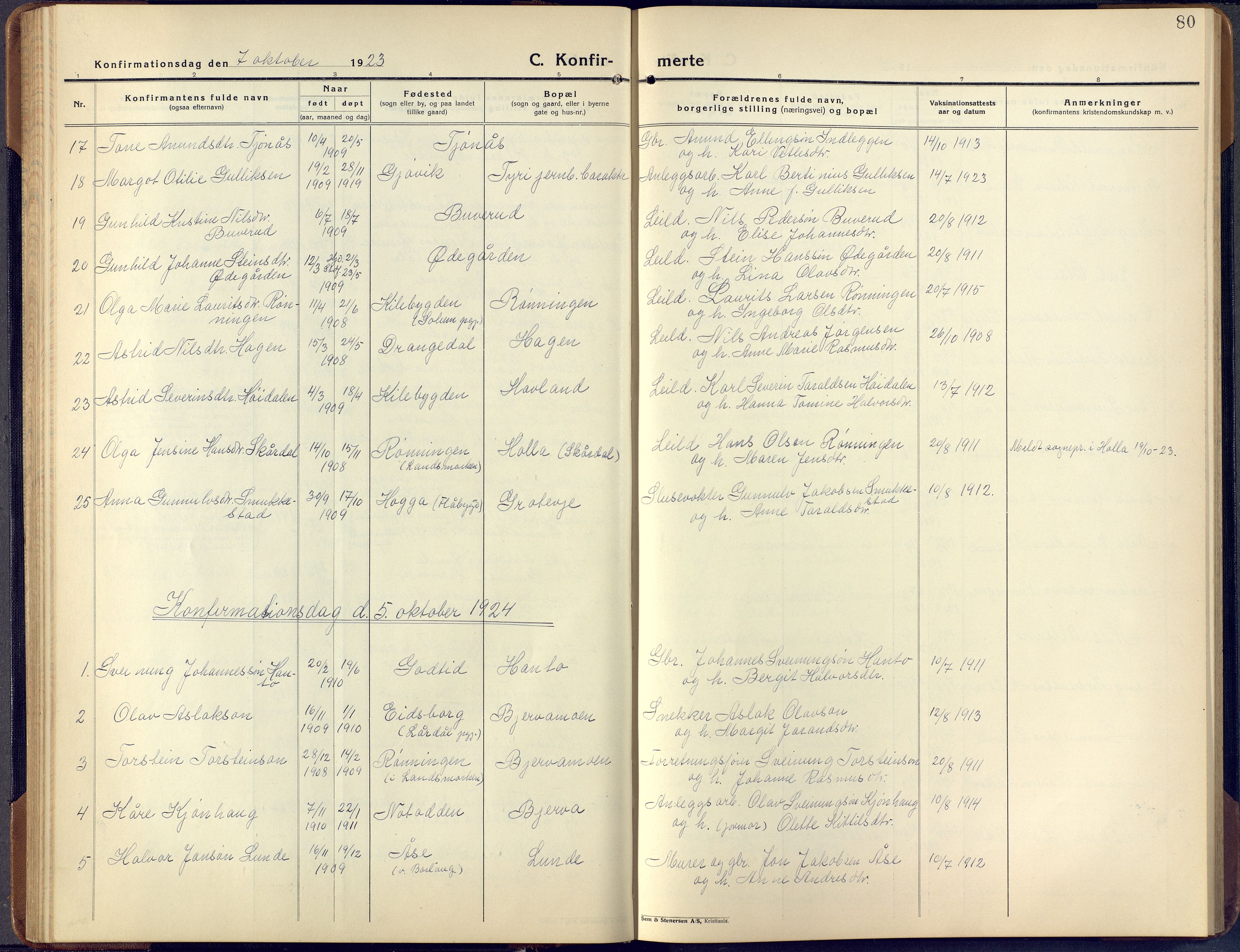 SAKO, Lunde kirkebøker, F/Fa/L0006: Ministerialbok nr. I 6, 1922-1940, s. 80