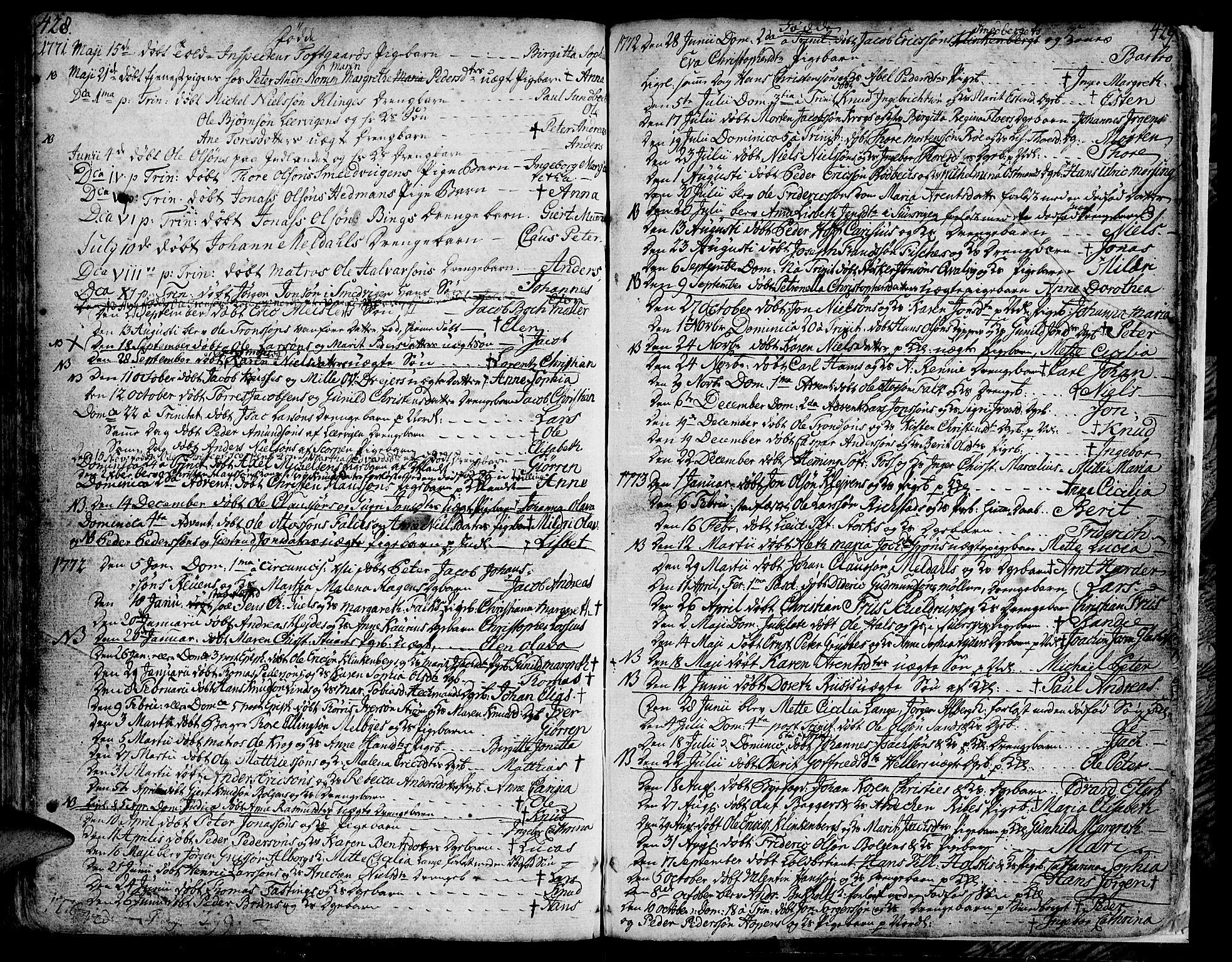 SAT, Ministerialprotokoller, klokkerbøker og fødselsregistre - Møre og Romsdal, 572/L0840: Ministerialbok nr. 572A03, 1754-1784, s. 428-429