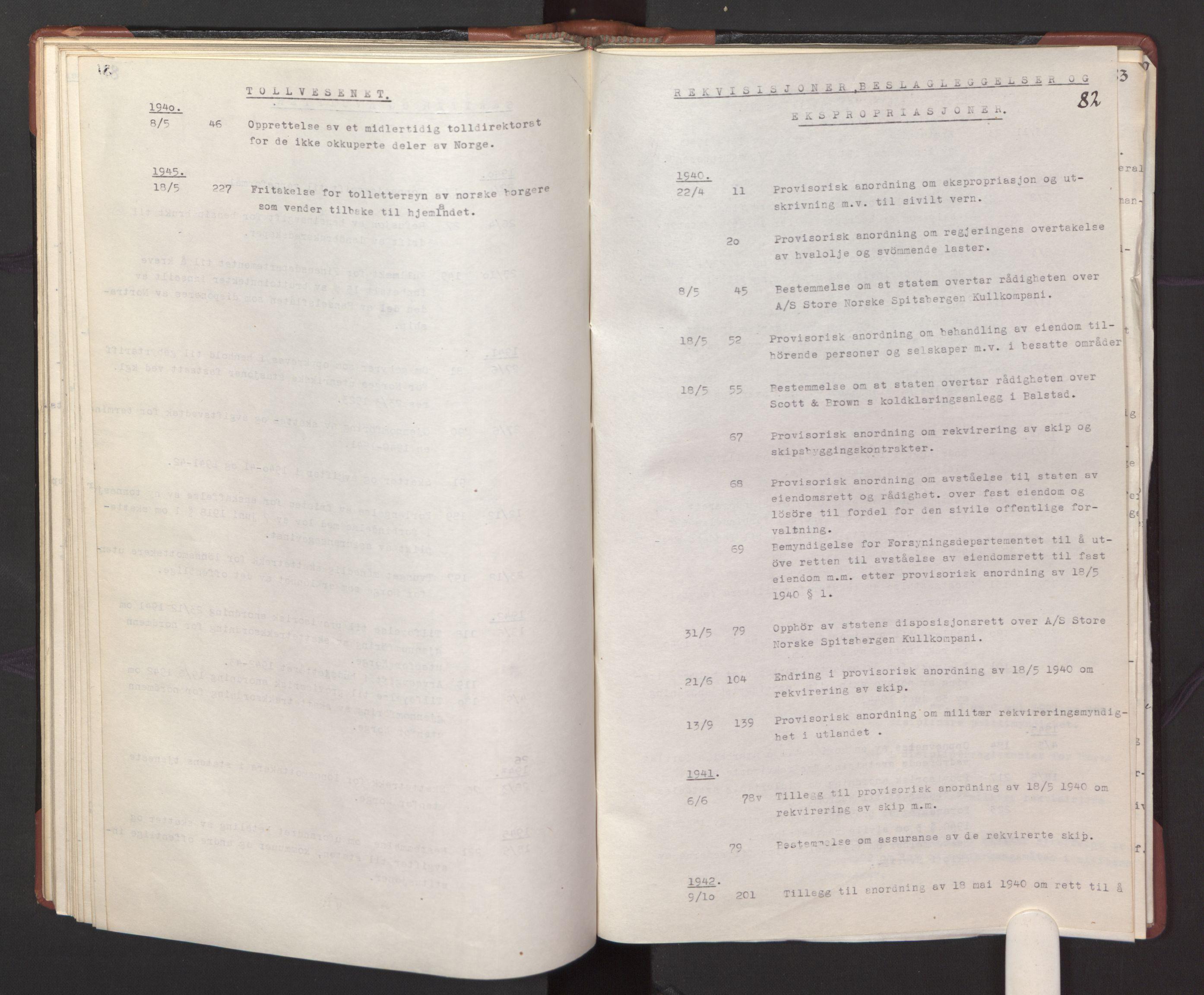 RA, Statsrådssekretariatet, A/Ac/L0127: Register 9/4-25/5, 1940-1945, s. 82