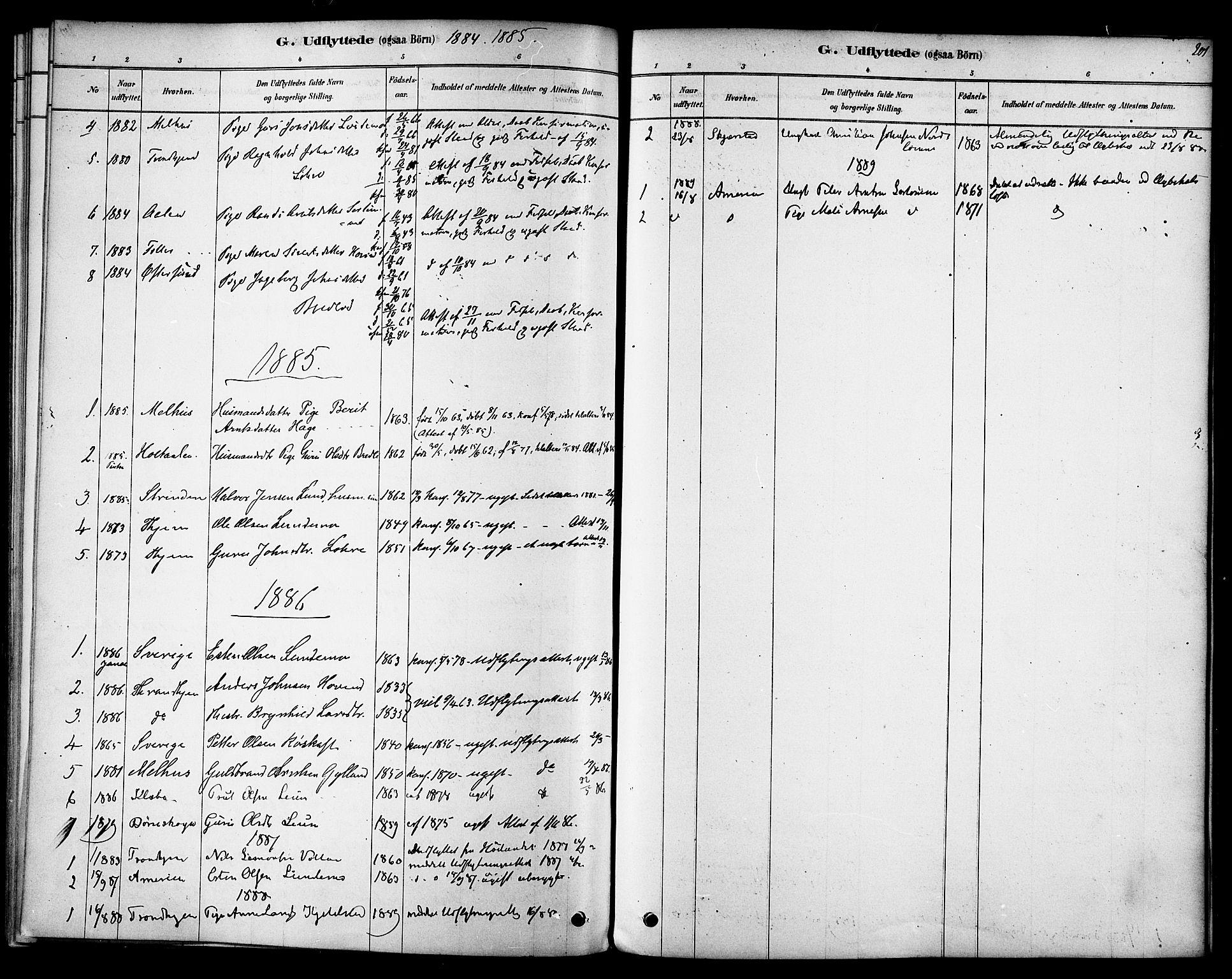 SAT, Ministerialprotokoller, klokkerbøker og fødselsregistre - Sør-Trøndelag, 692/L1105: Ministerialbok nr. 692A05, 1878-1890, s. 201