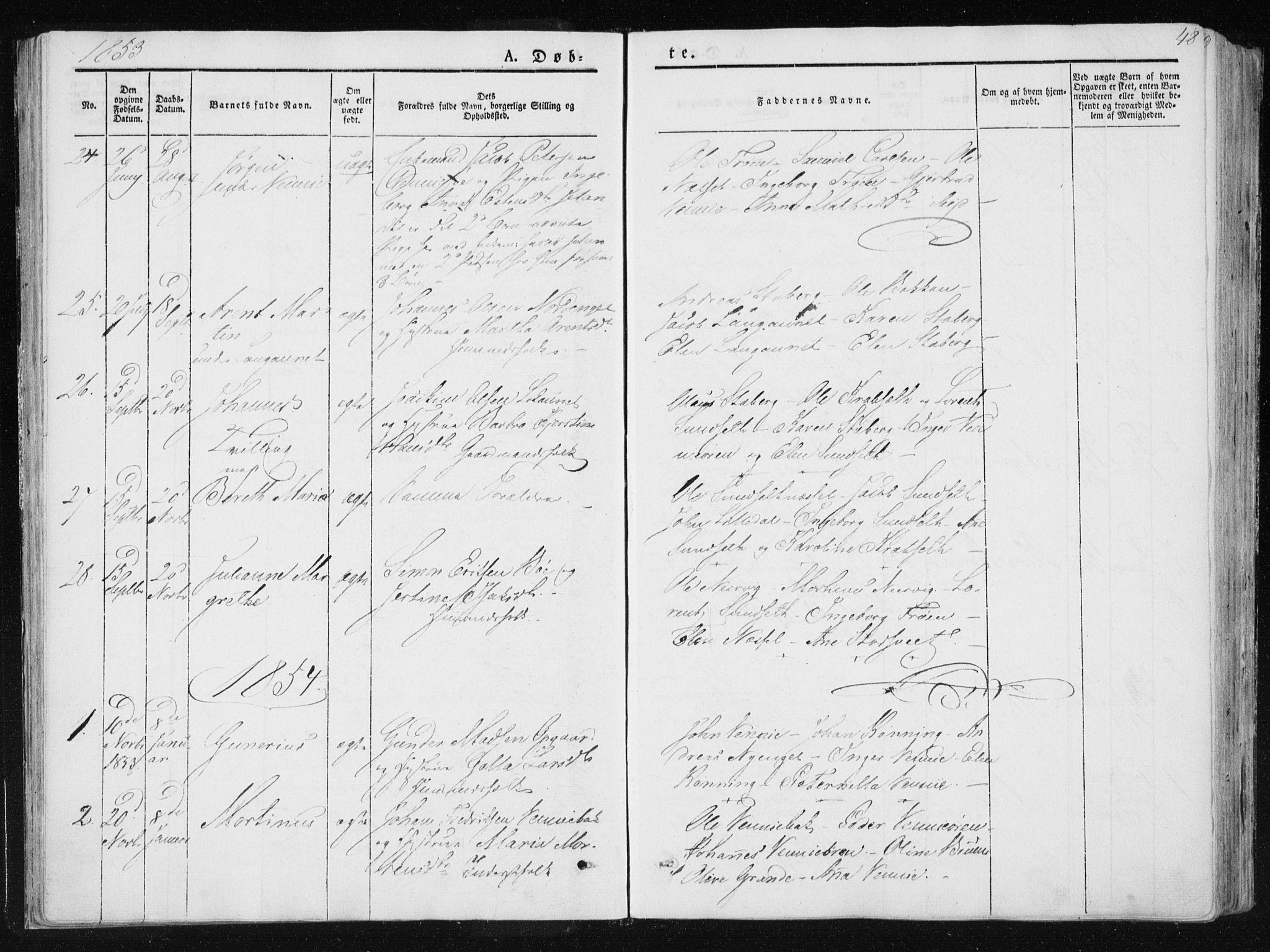 SAT, Ministerialprotokoller, klokkerbøker og fødselsregistre - Nord-Trøndelag, 733/L0323: Ministerialbok nr. 733A02, 1843-1870, s. 48