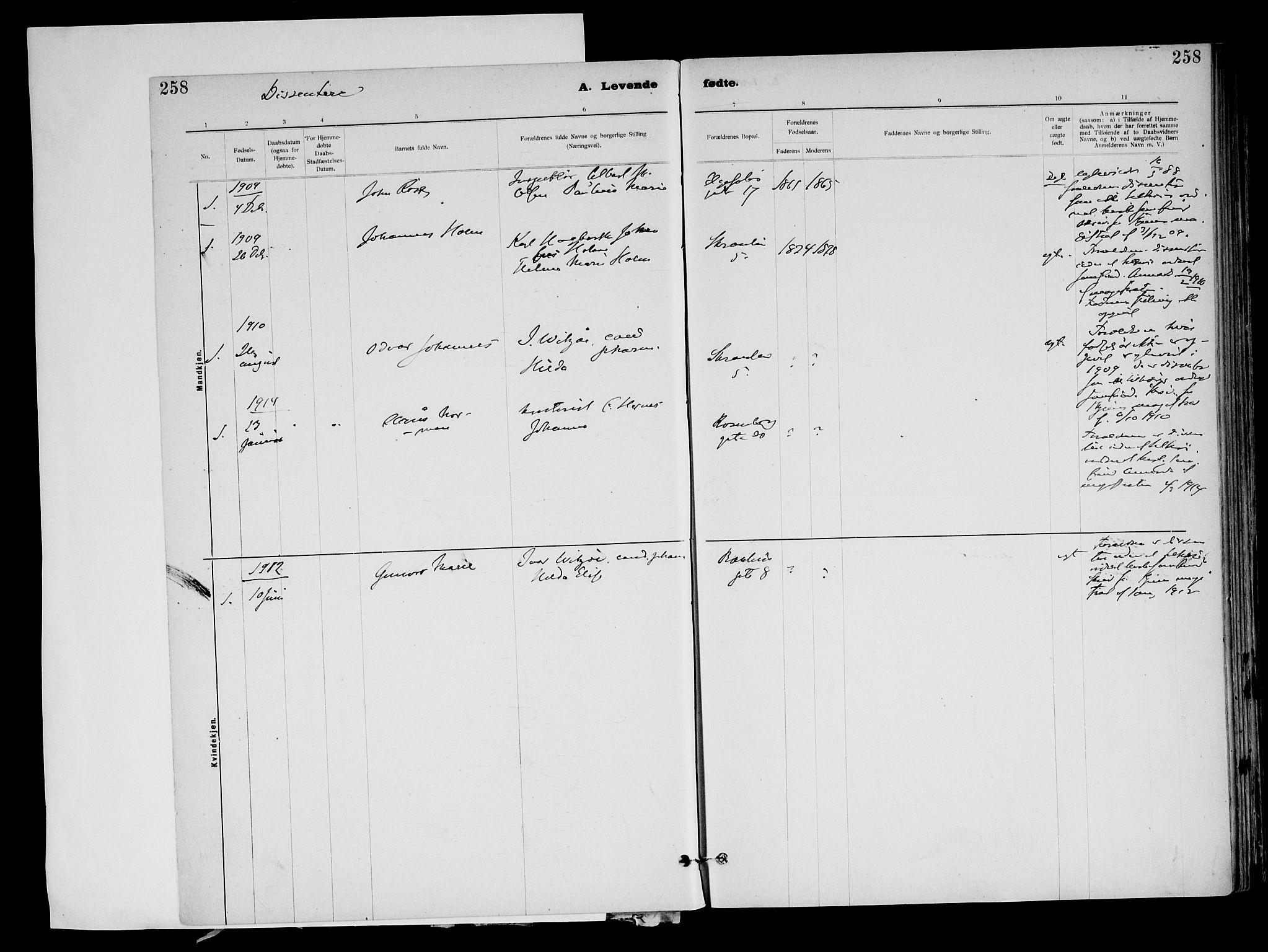 SAT, Ministerialprotokoller, klokkerbøker og fødselsregistre - Sør-Trøndelag, 604/L0203: Ministerialbok nr. 604A23, 1908-1916, s. 258