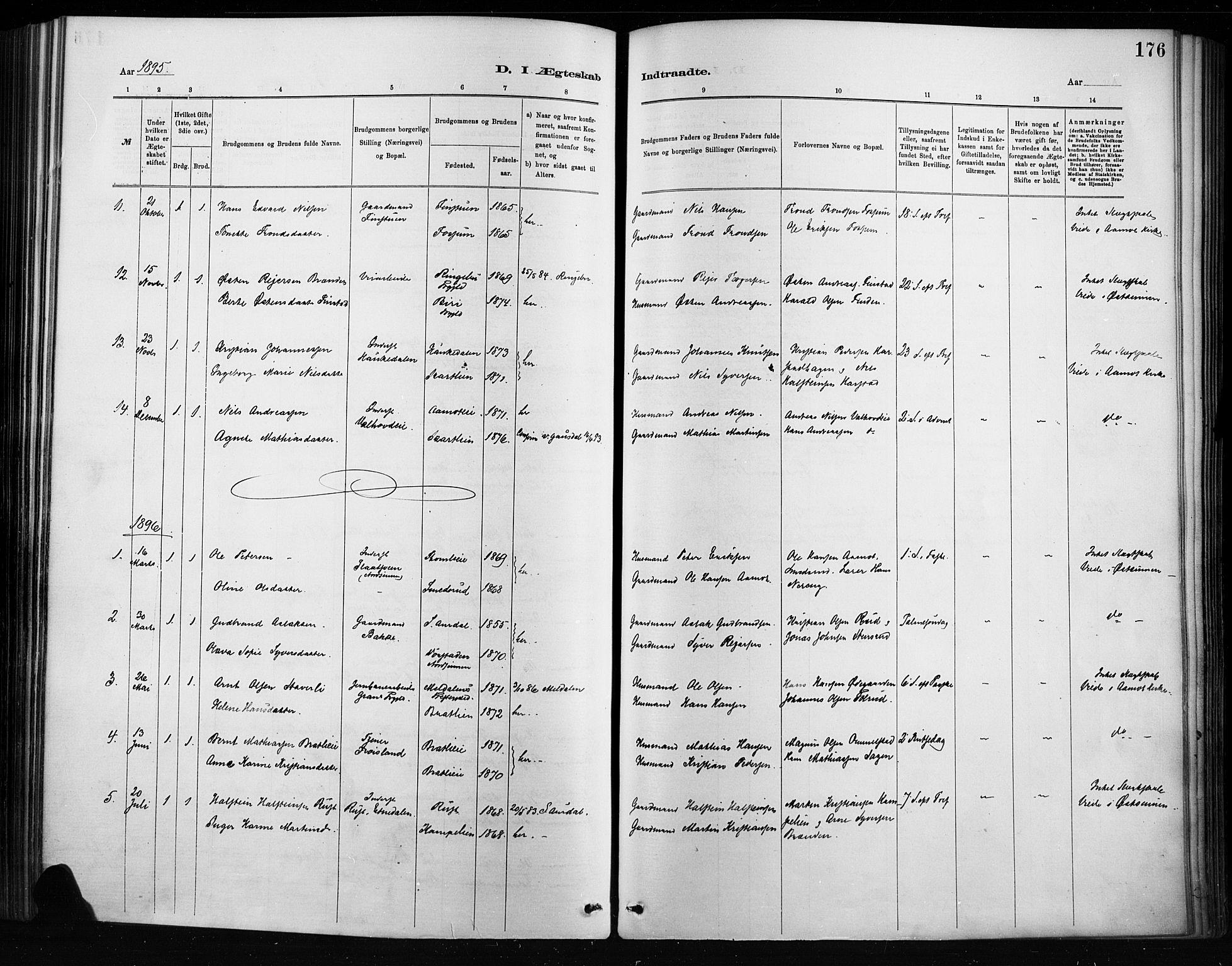 SAH, Nordre Land prestekontor, Ministerialbok nr. 4, 1882-1896, s. 176