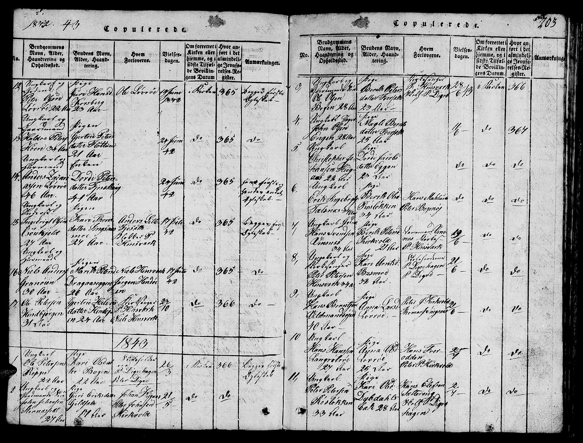 SAT, Ministerialprotokoller, klokkerbøker og fødselsregistre - Sør-Trøndelag, 688/L1026: Klokkerbok nr. 688C01, 1817-1860, s. 203