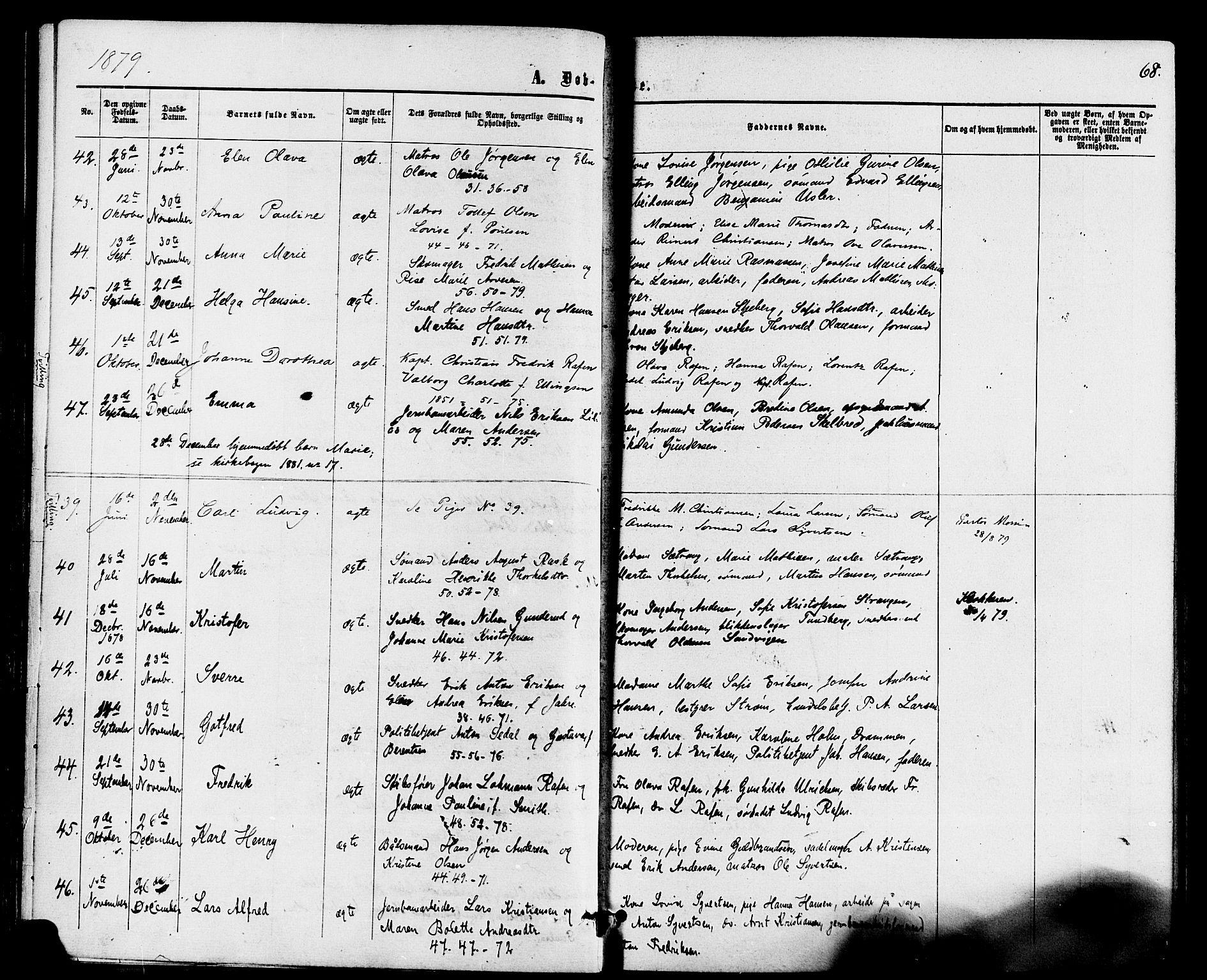 SAKO, Holmestrand kirkebøker, F/Fa/L0003: Ministerialbok nr. 3, 1867-1879, s. 68