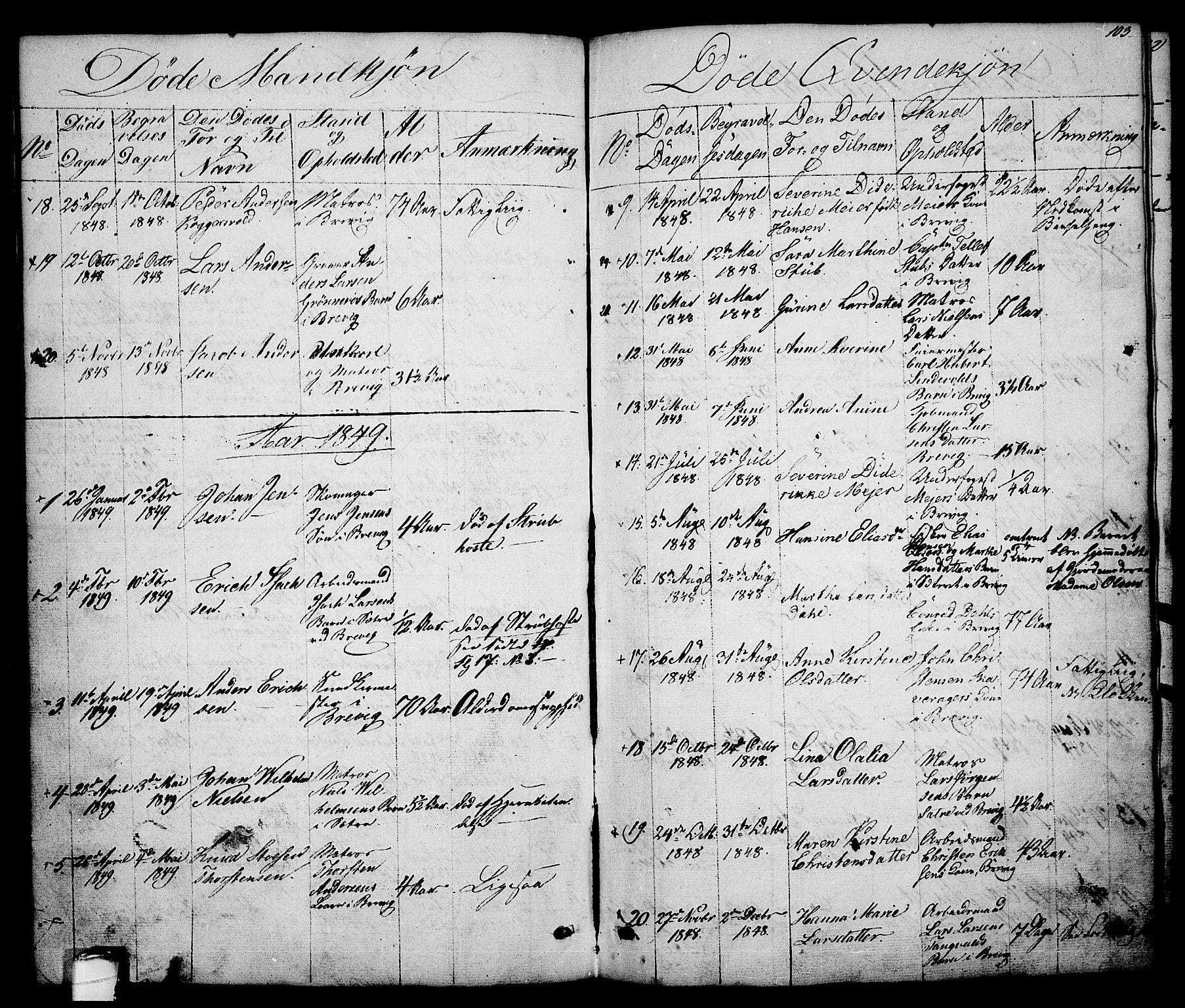 SAKO, Brevik kirkebøker, G/Ga/L0002: Klokkerbok nr. 2, 1846-1865, s. 103