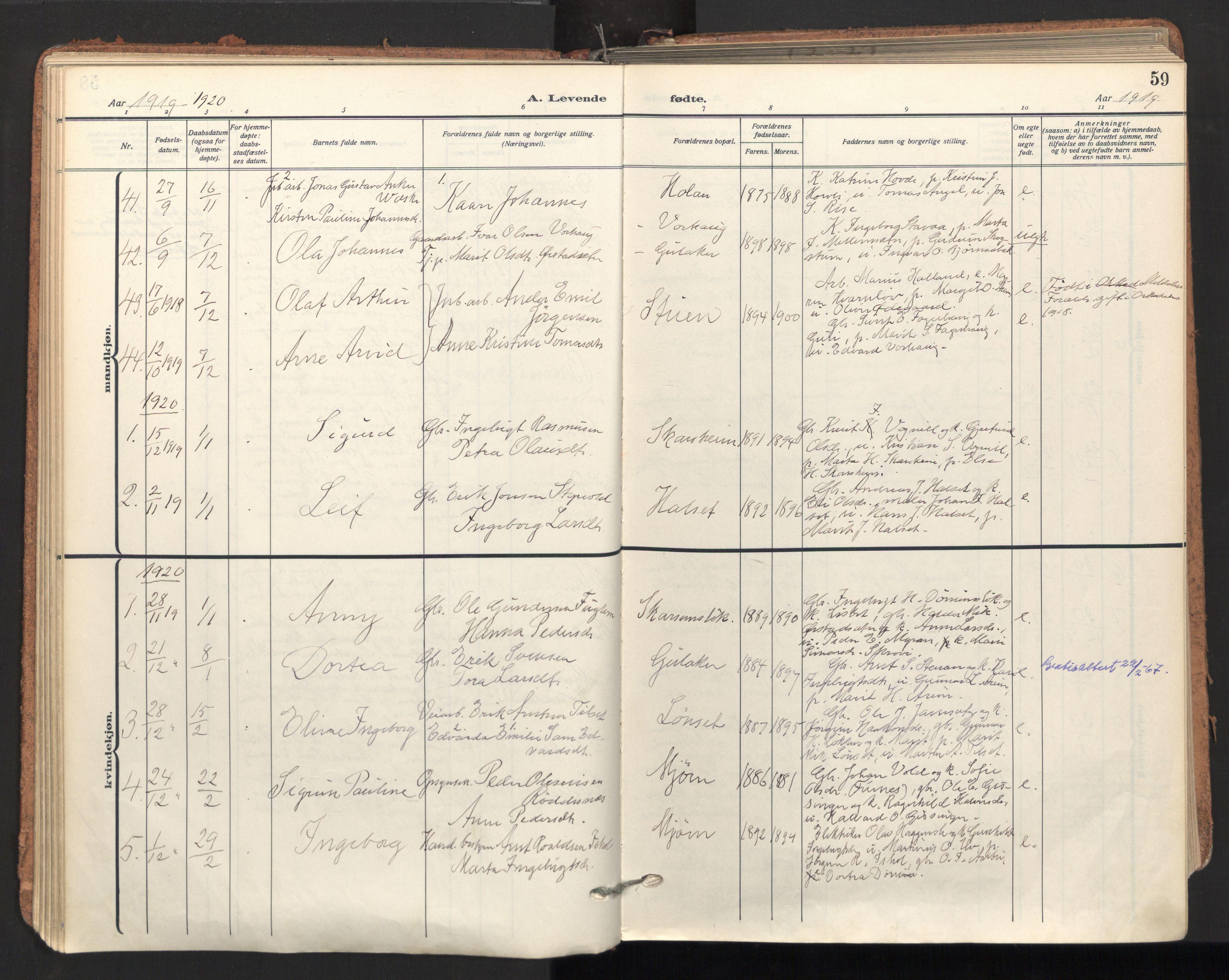 SAT, Ministerialprotokoller, klokkerbøker og fødselsregistre - Sør-Trøndelag, 678/L0909: Ministerialbok nr. 678A17, 1912-1930, s. 59