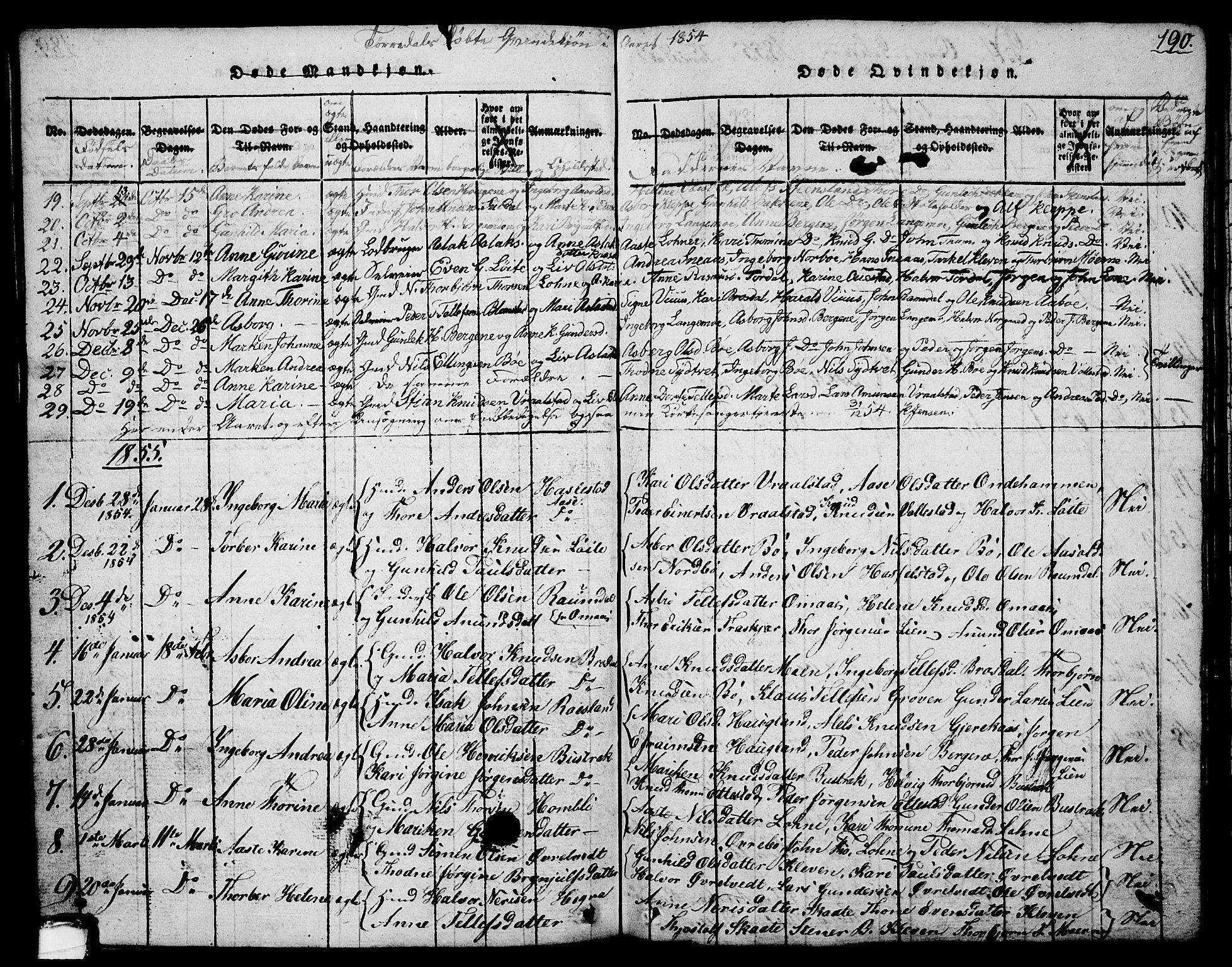 SAKO, Drangedal kirkebøker, G/Ga/L0001: Klokkerbok nr. I 1 /2, 1814-1856, s. 190
