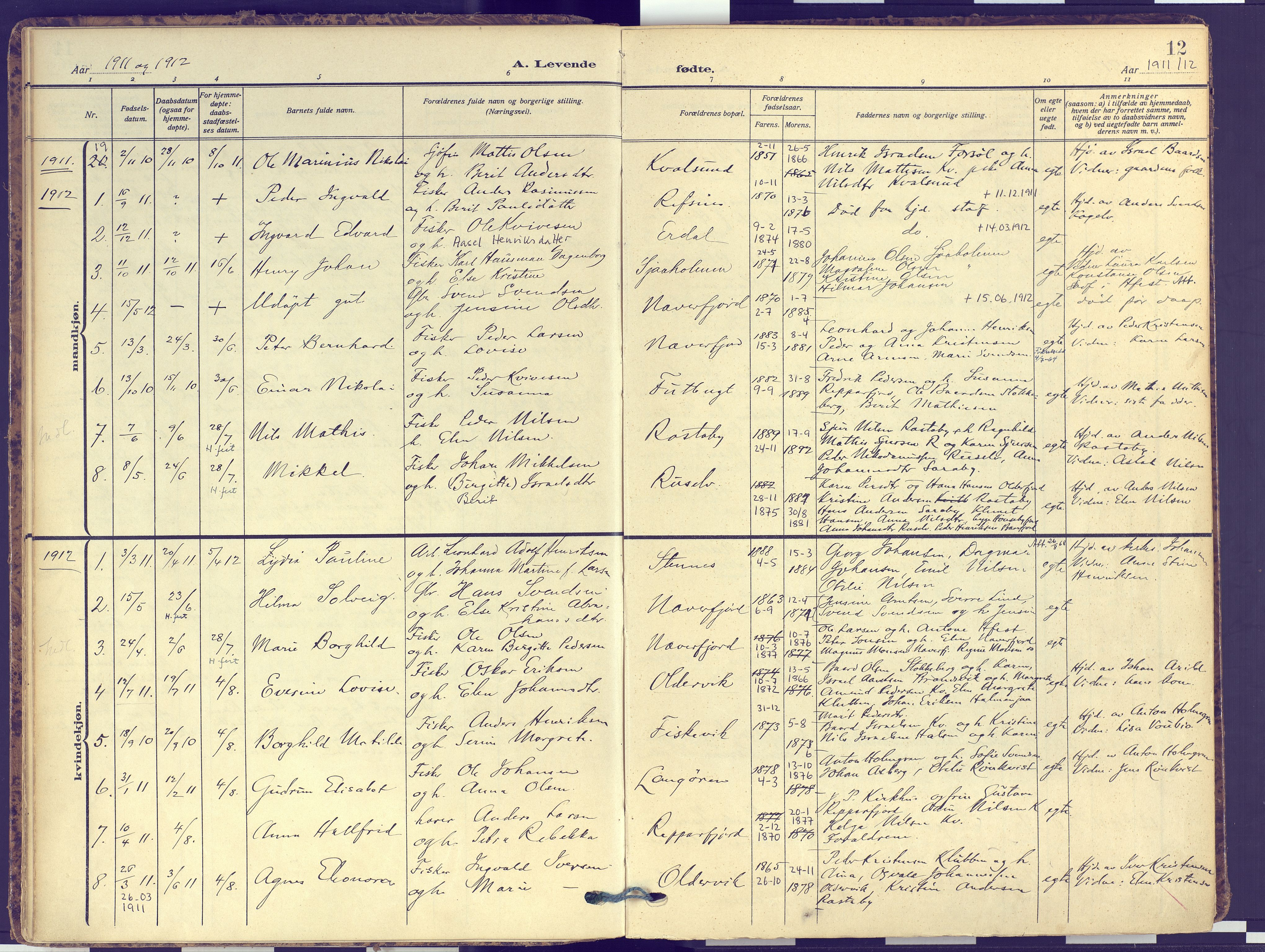 SATØ, Hammerfest sokneprestembete, Ministerialbok nr. 16, 1908-1923, s. 12
