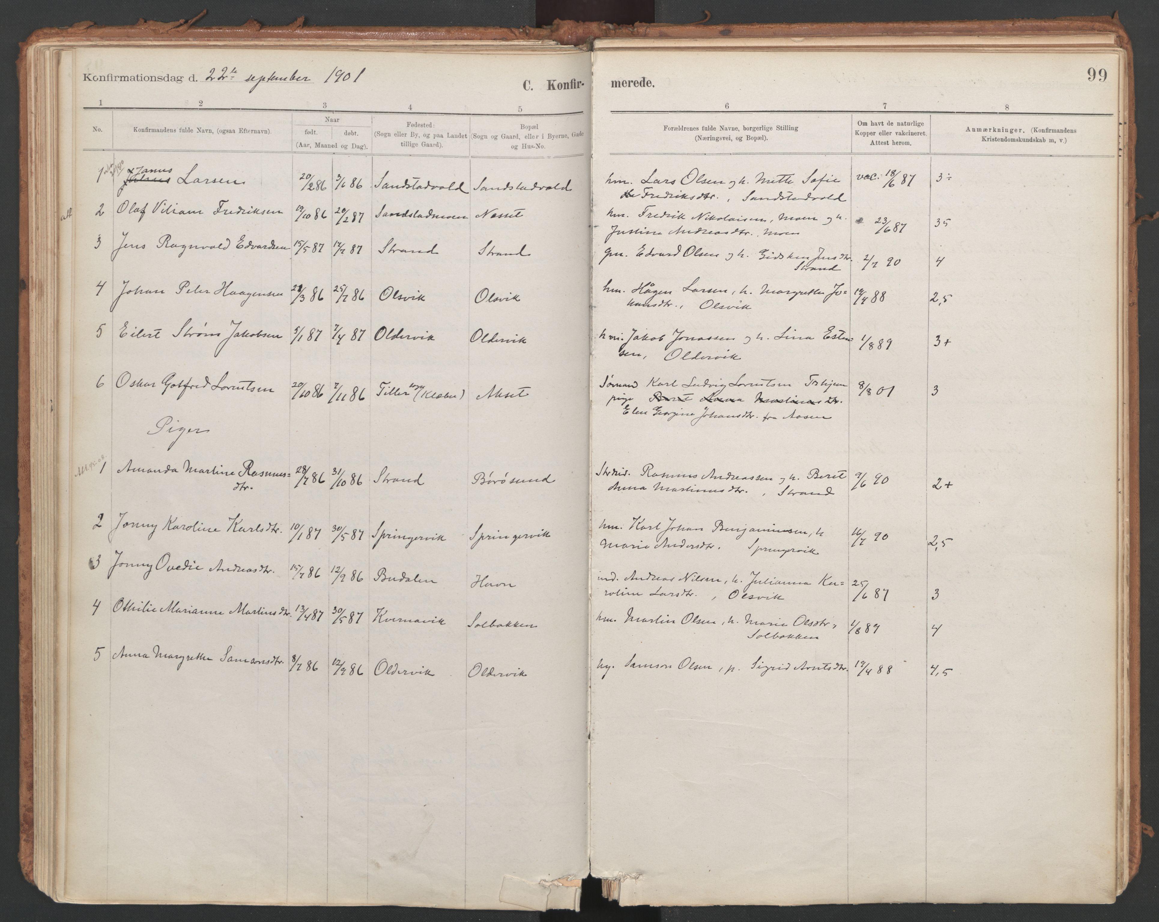 SAT, Ministerialprotokoller, klokkerbøker og fødselsregistre - Sør-Trøndelag, 639/L0572: Ministerialbok nr. 639A01, 1890-1920, s. 99