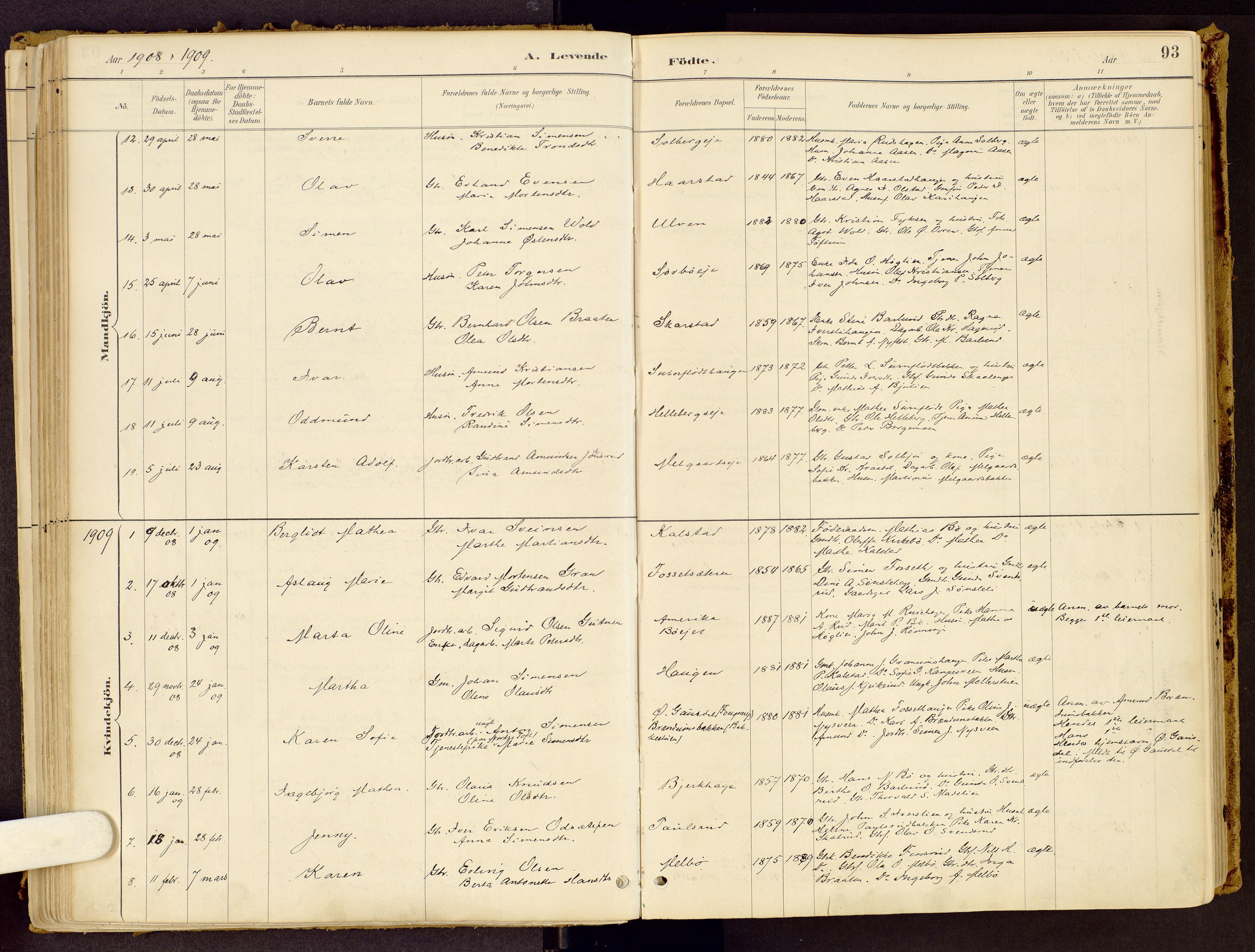 SAH, Vestre Gausdal prestekontor, Ministerialbok nr. 1, 1887-1914, s. 93