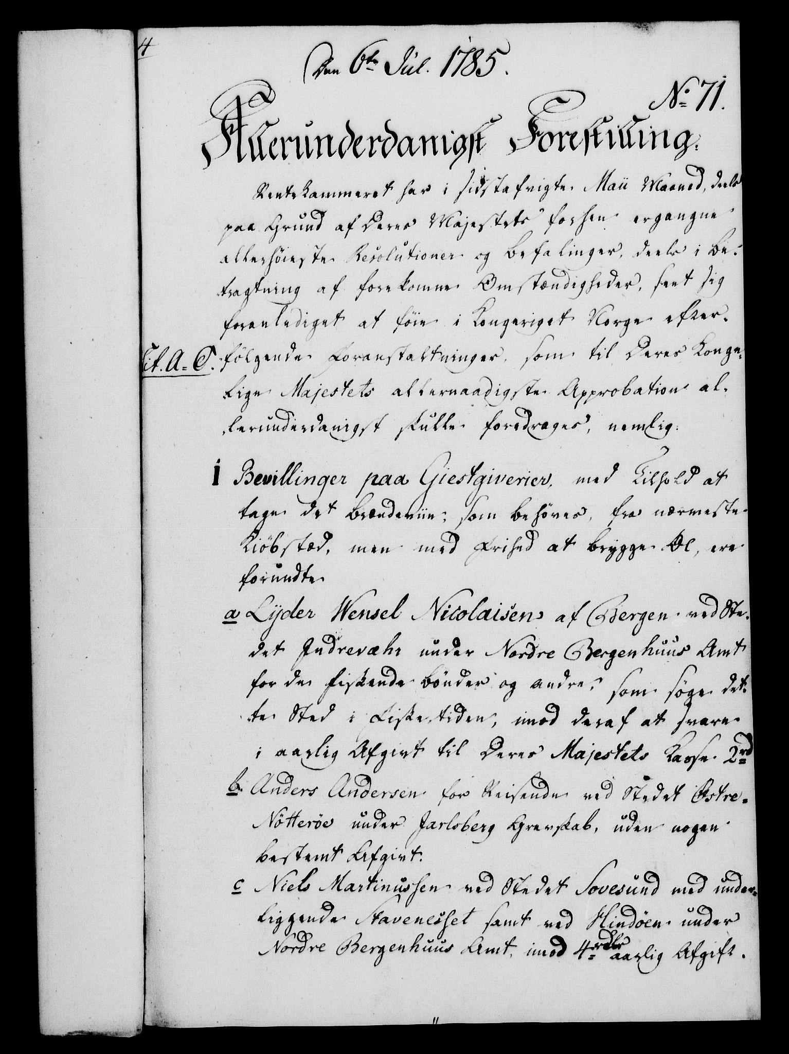 RA, Rentekammeret, Kammerkanselliet, G/Gf/Gfa/L0067: Norsk relasjons- og resolusjonsprotokoll (merket RK 52.67), 1785, s. 616