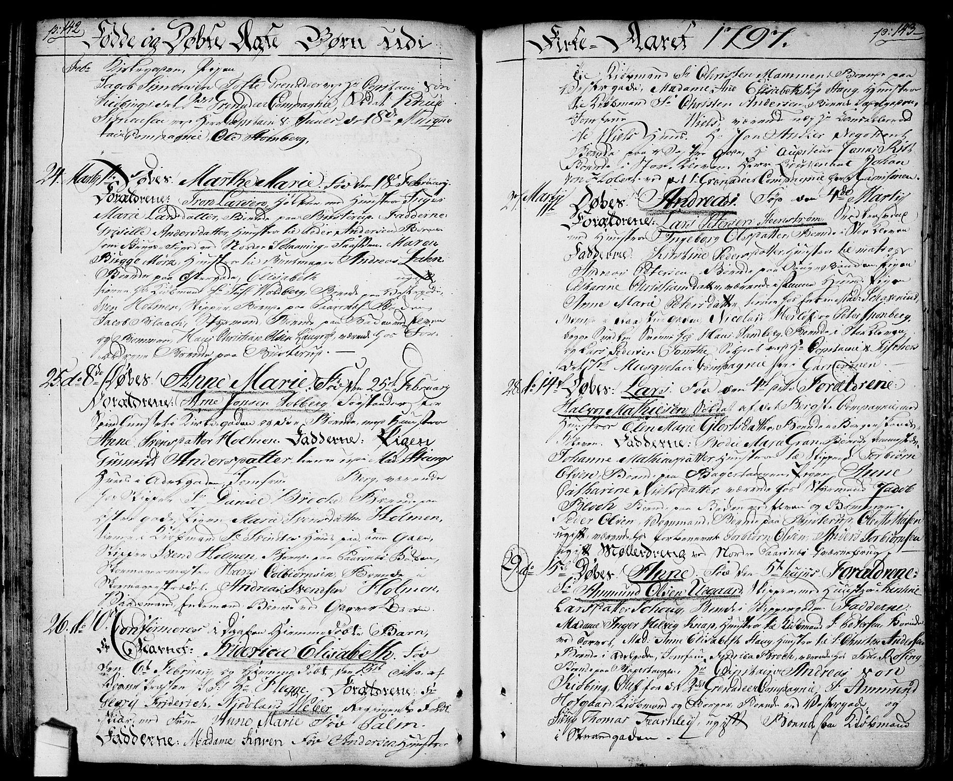 SAO, Halden prestekontor Kirkebøker, F/Fa/L0002: Ministerialbok nr. I 2, 1792-1812, s. 142-143