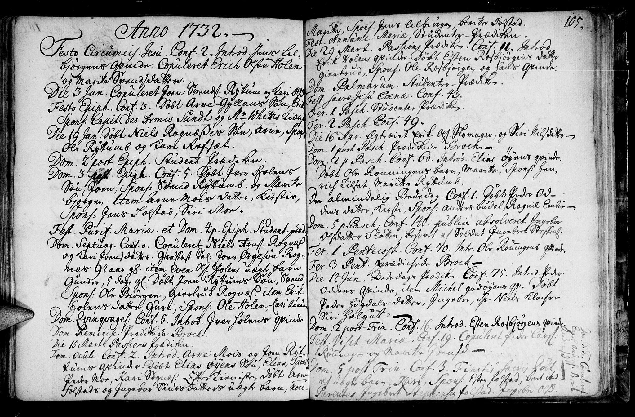 SAT, Ministerialprotokoller, klokkerbøker og fødselsregistre - Sør-Trøndelag, 687/L0990: Ministerialbok nr. 687A01, 1690-1746, s. 105