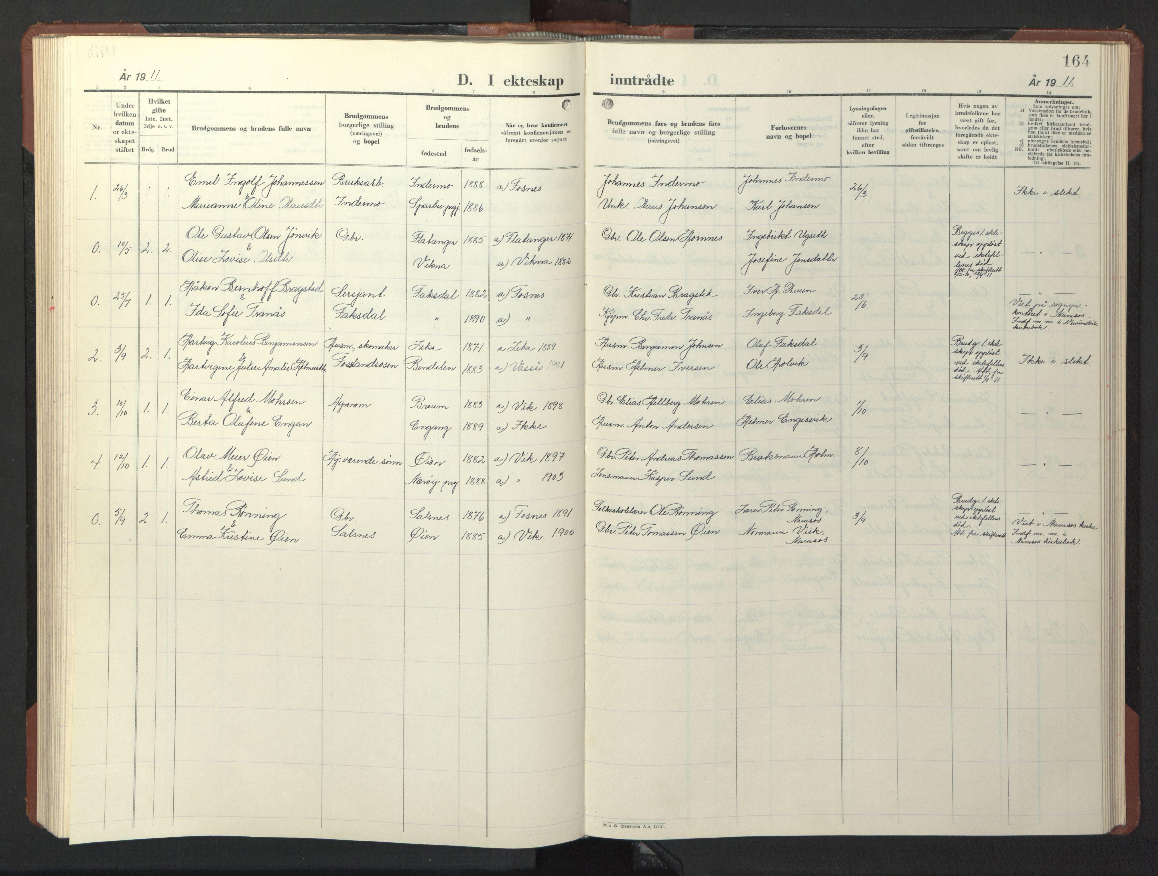 SAT, Ministerialprotokoller, klokkerbøker og fødselsregistre - Nord-Trøndelag, 773/L0625: Klokkerbok nr. 773C01, 1910-1952, s. 164