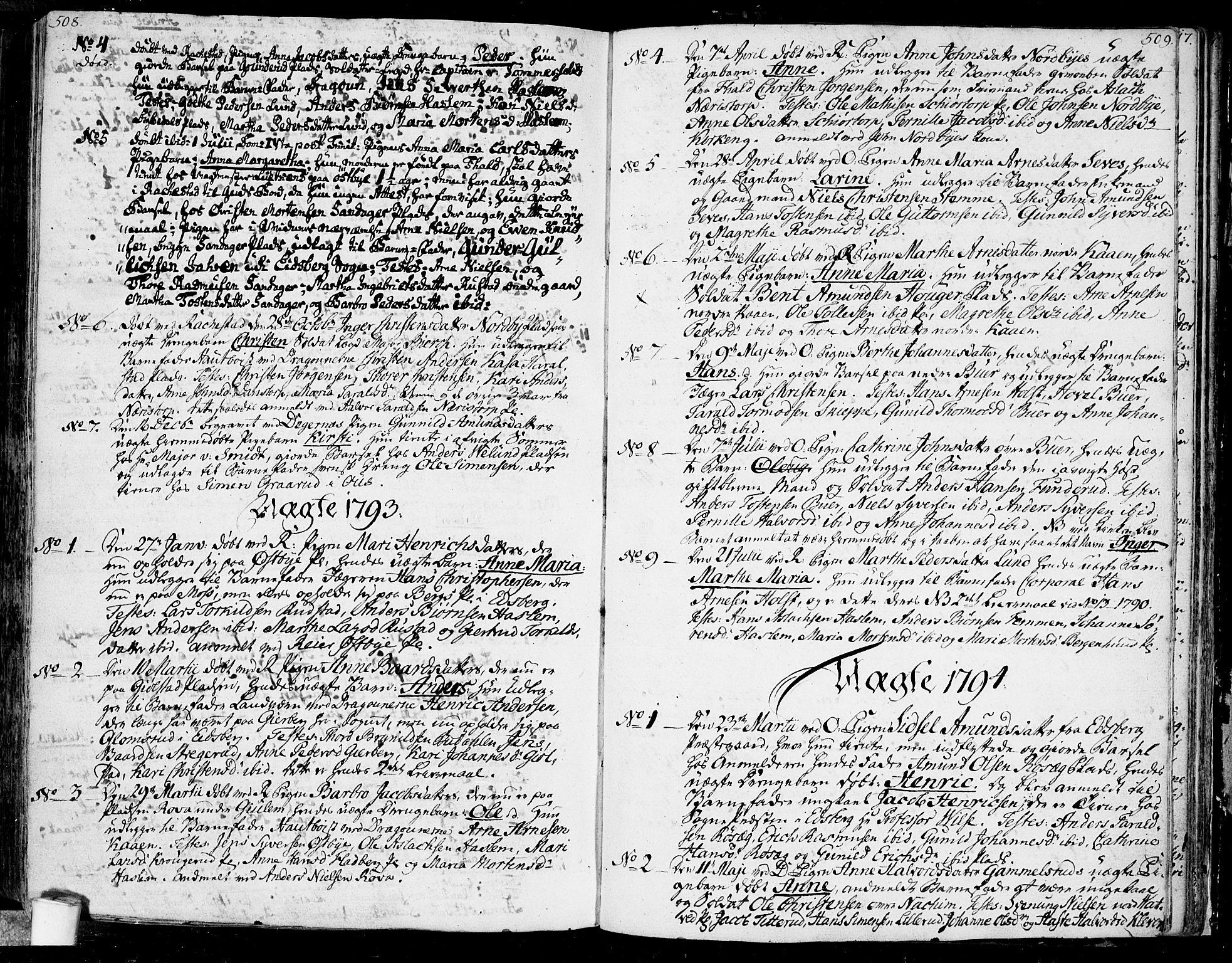 SAO, Rakkestad prestekontor Kirkebøker, F/Fa/L0005: Ministerialbok nr. I 5, 1784-1814, s. 508-509