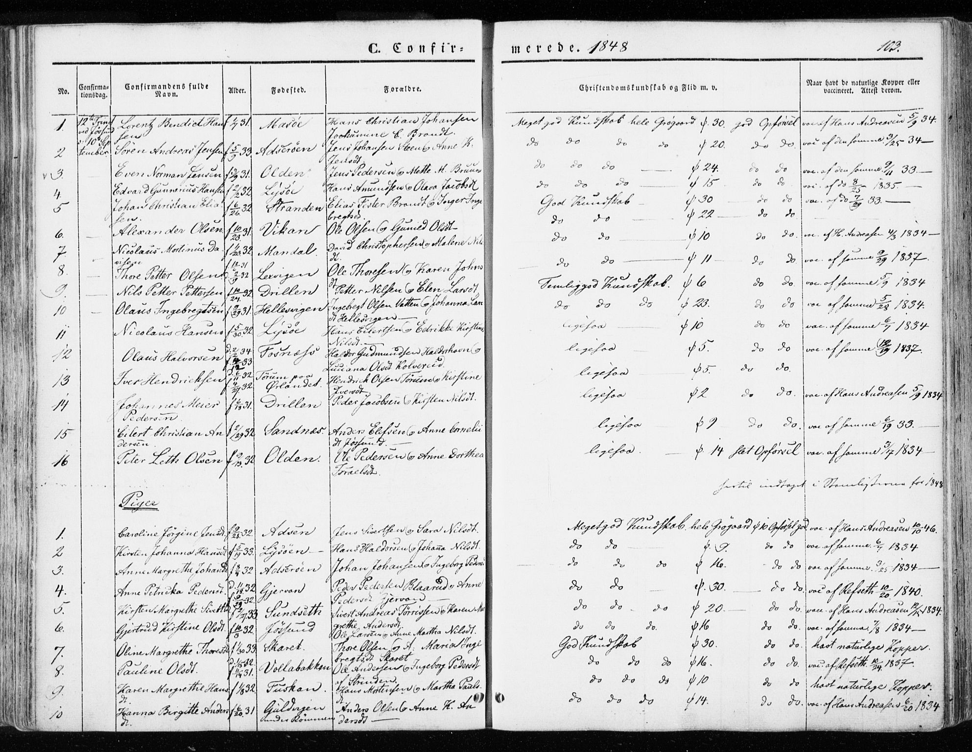 SAT, Ministerialprotokoller, klokkerbøker og fødselsregistre - Sør-Trøndelag, 655/L0677: Ministerialbok nr. 655A06, 1847-1860, s. 103