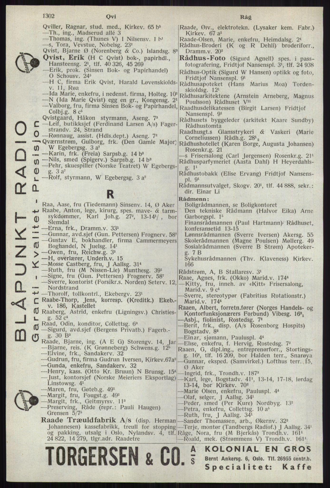RA, Oslo adressebok (publikasjon)*, 1941, s. 1302