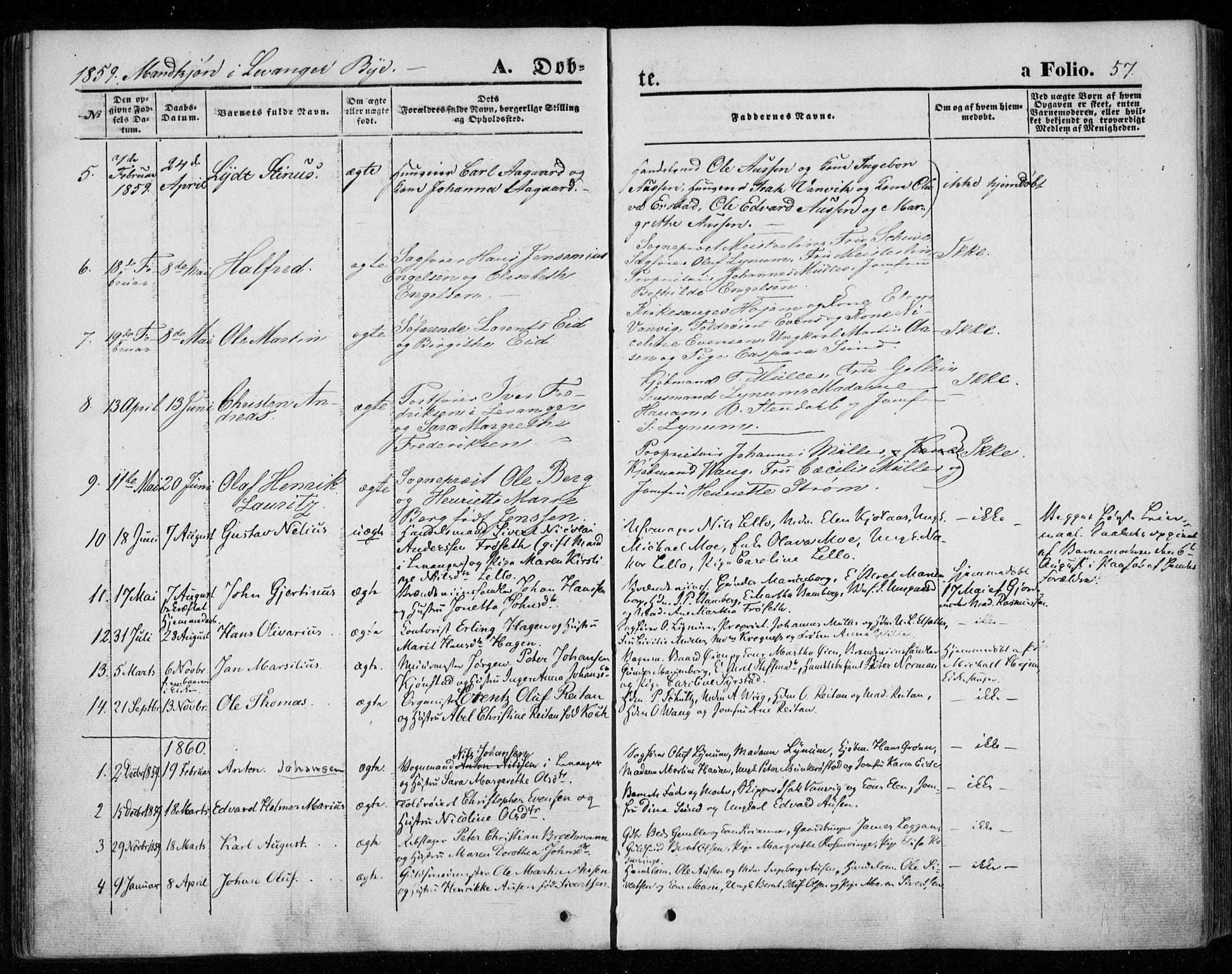 SAT, Ministerialprotokoller, klokkerbøker og fødselsregistre - Nord-Trøndelag, 720/L0184: Ministerialbok nr. 720A02 /1, 1855-1863, s. 57