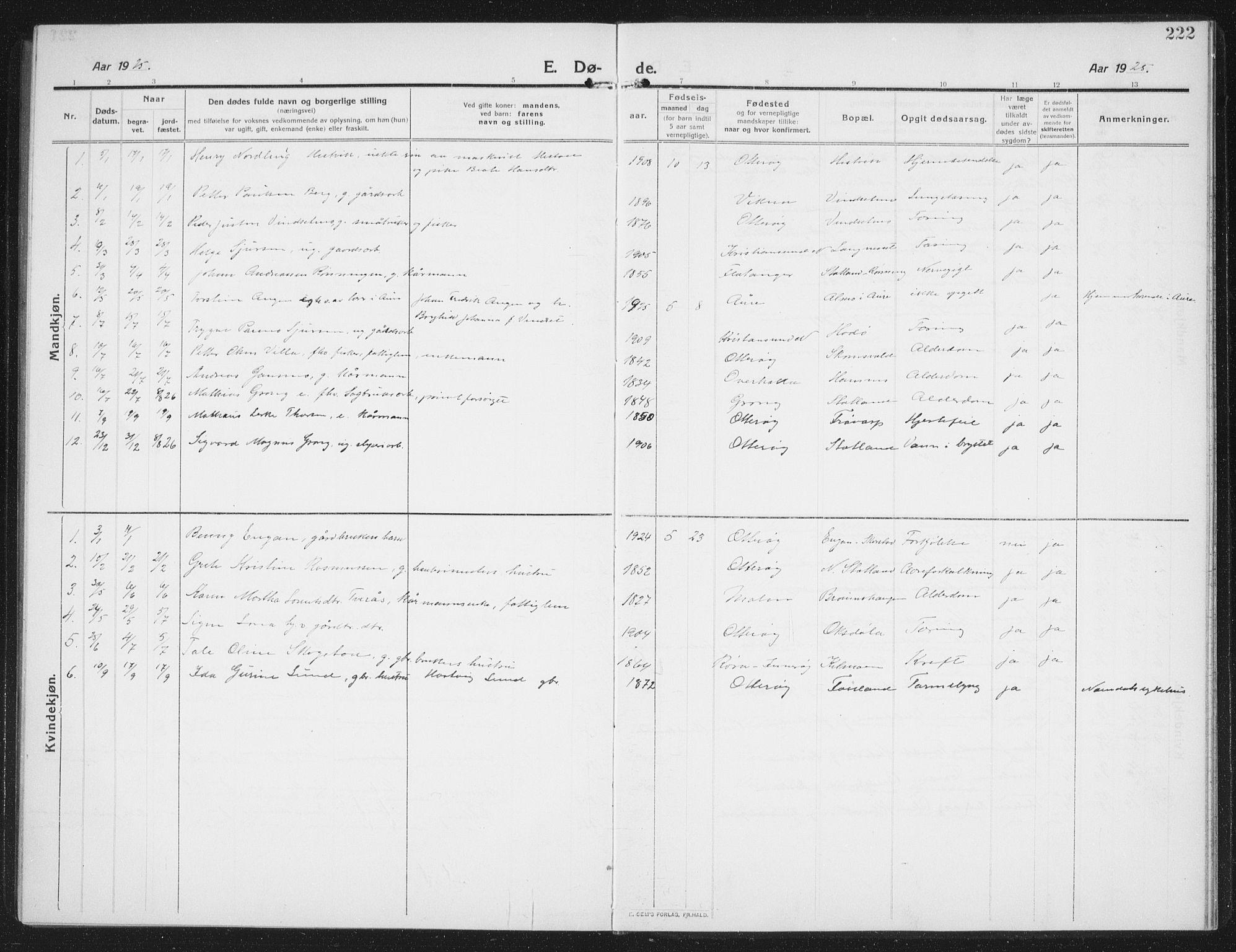 SAT, Ministerialprotokoller, klokkerbøker og fødselsregistre - Nord-Trøndelag, 774/L0630: Klokkerbok nr. 774C01, 1910-1934, s. 222