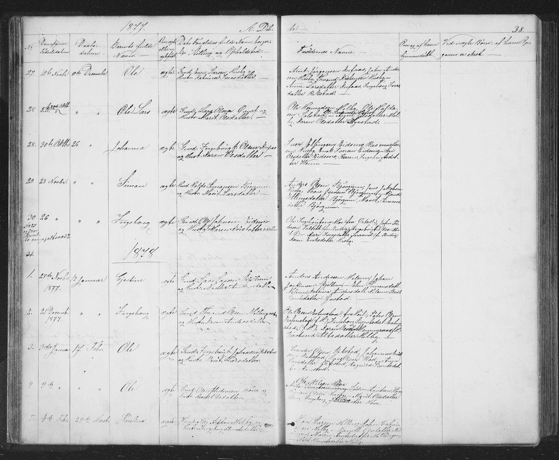 SAT, Ministerialprotokoller, klokkerbøker og fødselsregistre - Sør-Trøndelag, 667/L0798: Klokkerbok nr. 667C03, 1867-1929, s. 38