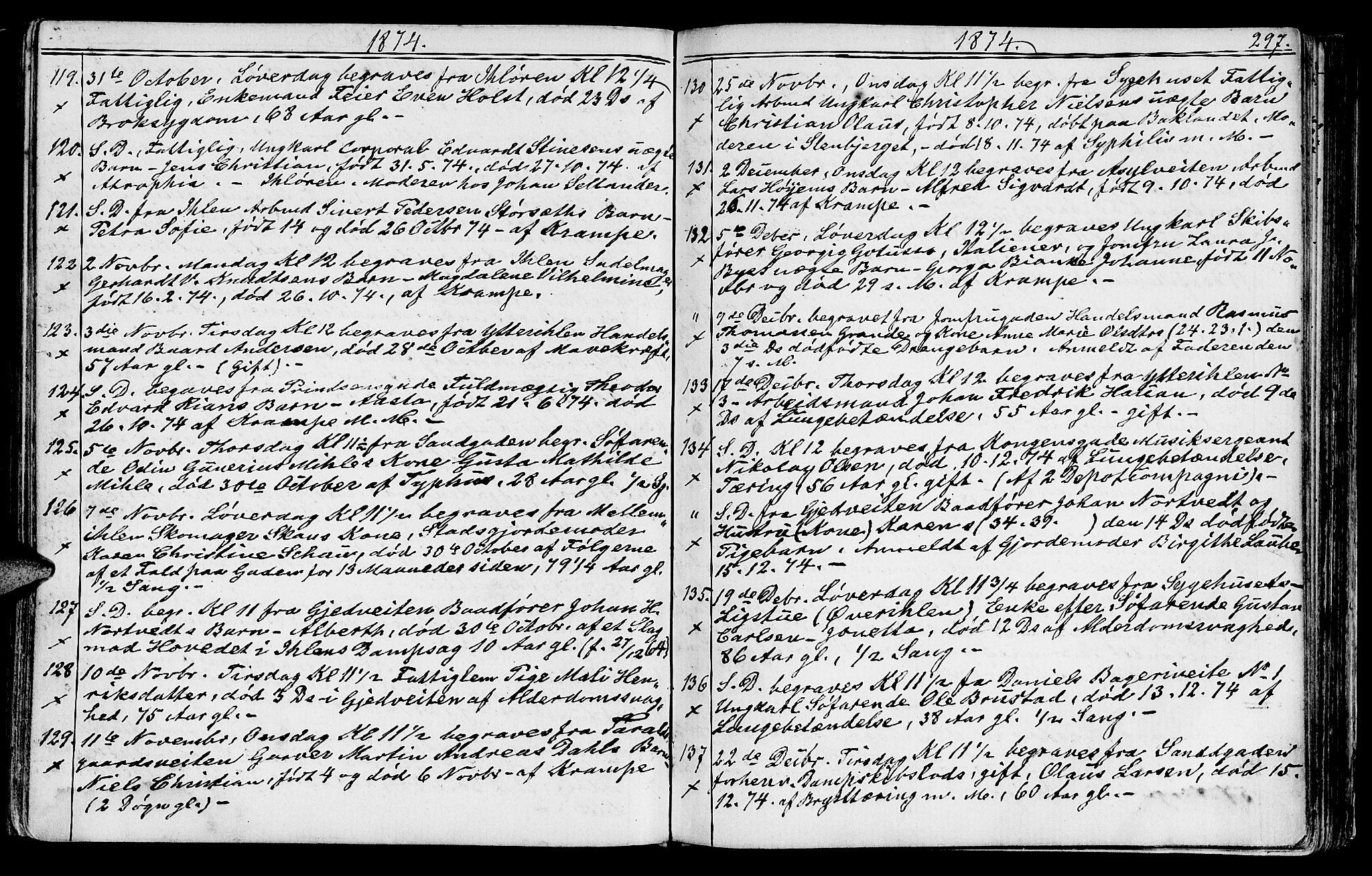 SAT, Ministerialprotokoller, klokkerbøker og fødselsregistre - Sør-Trøndelag, 602/L0142: Klokkerbok nr. 602C10, 1872-1894, s. 297