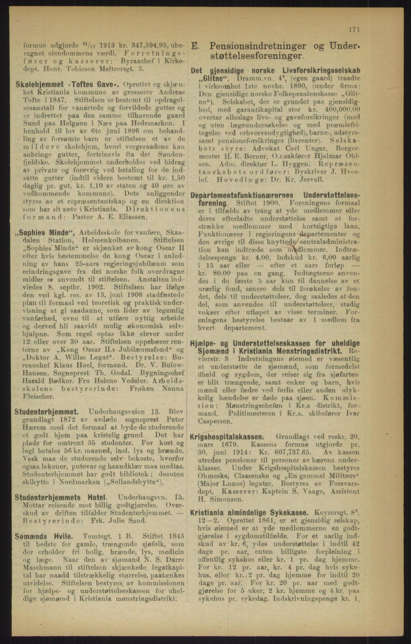 RA, Kristiania adressebok (publikasjon)*, 1915, s. 171