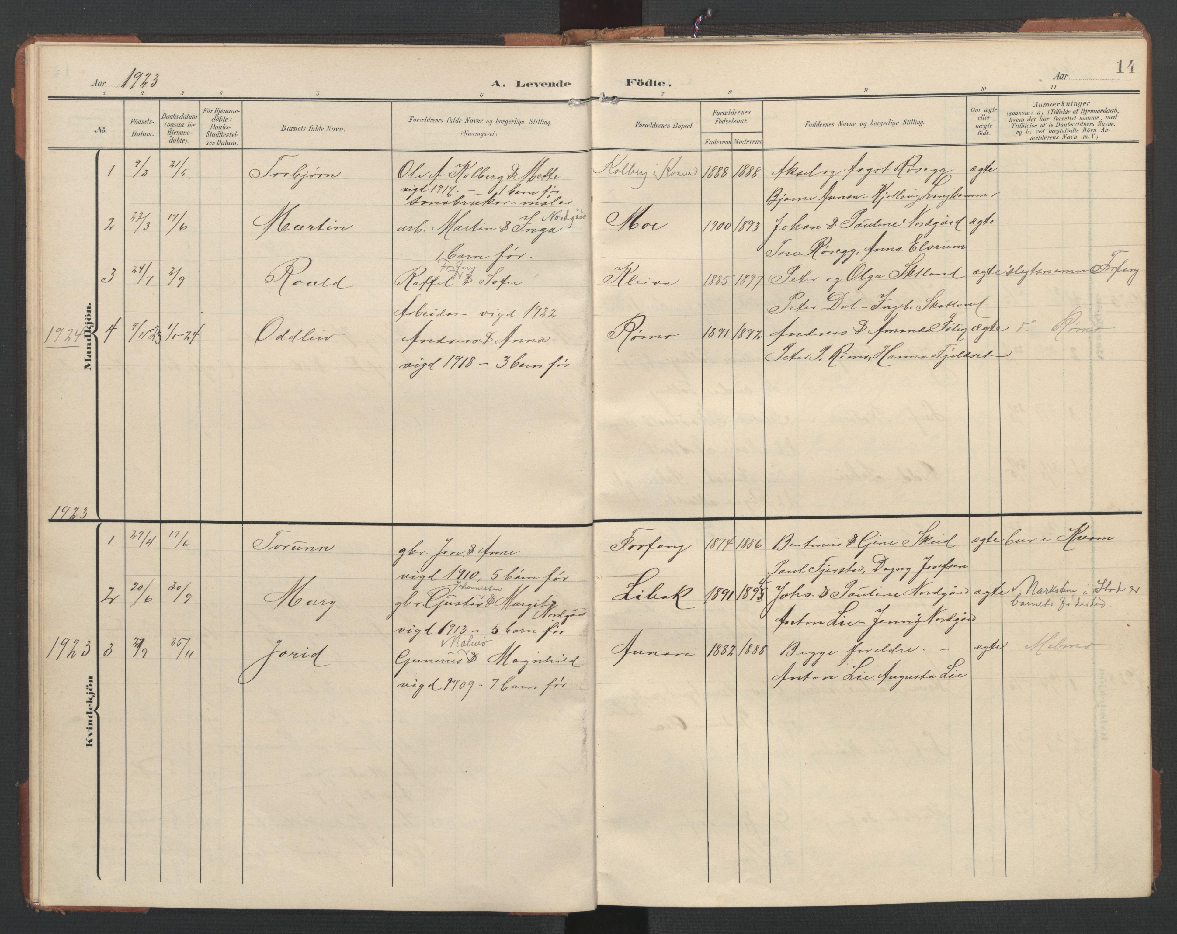 SAT, Ministerialprotokoller, klokkerbøker og fødselsregistre - Nord-Trøndelag, 748/L0465: Klokkerbok nr. 748C01, 1908-1960, s. 14