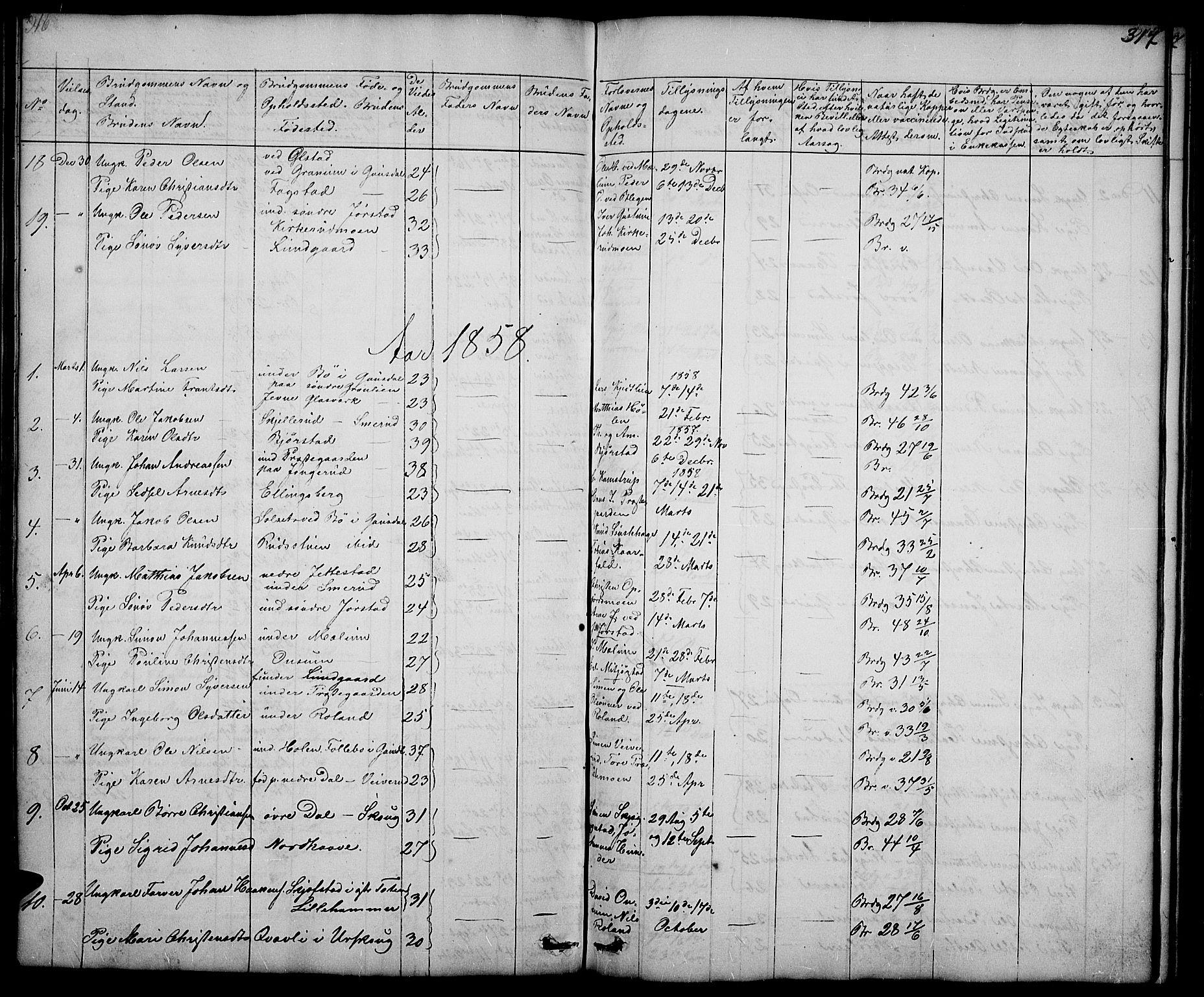 SAH, Fåberg prestekontor, Klokkerbok nr. 5, 1837-1864, s. 316-317