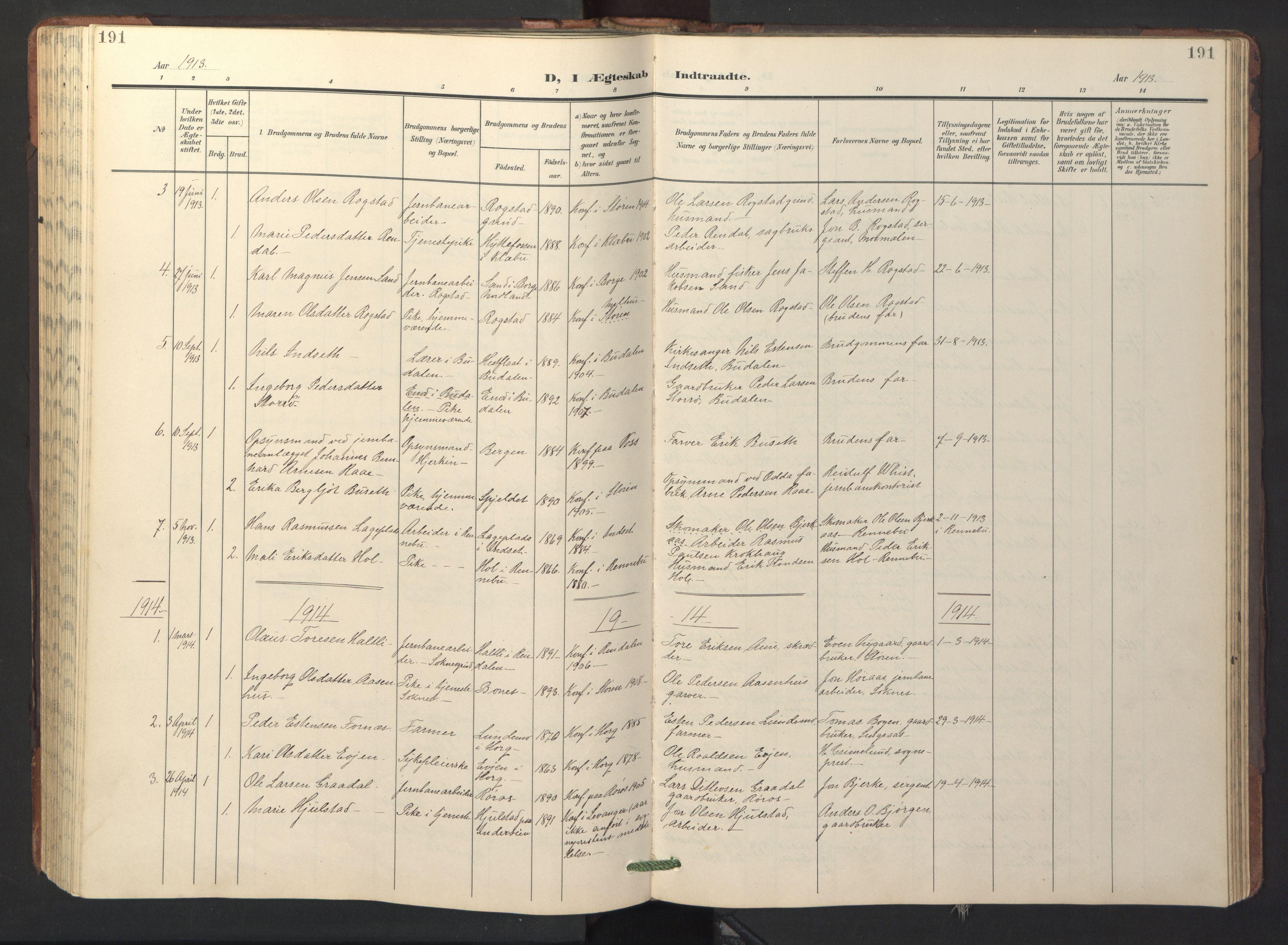 SAT, Ministerialprotokoller, klokkerbøker og fødselsregistre - Sør-Trøndelag, 687/L1019: Klokkerbok nr. 687C03, 1904-1931, s. 191