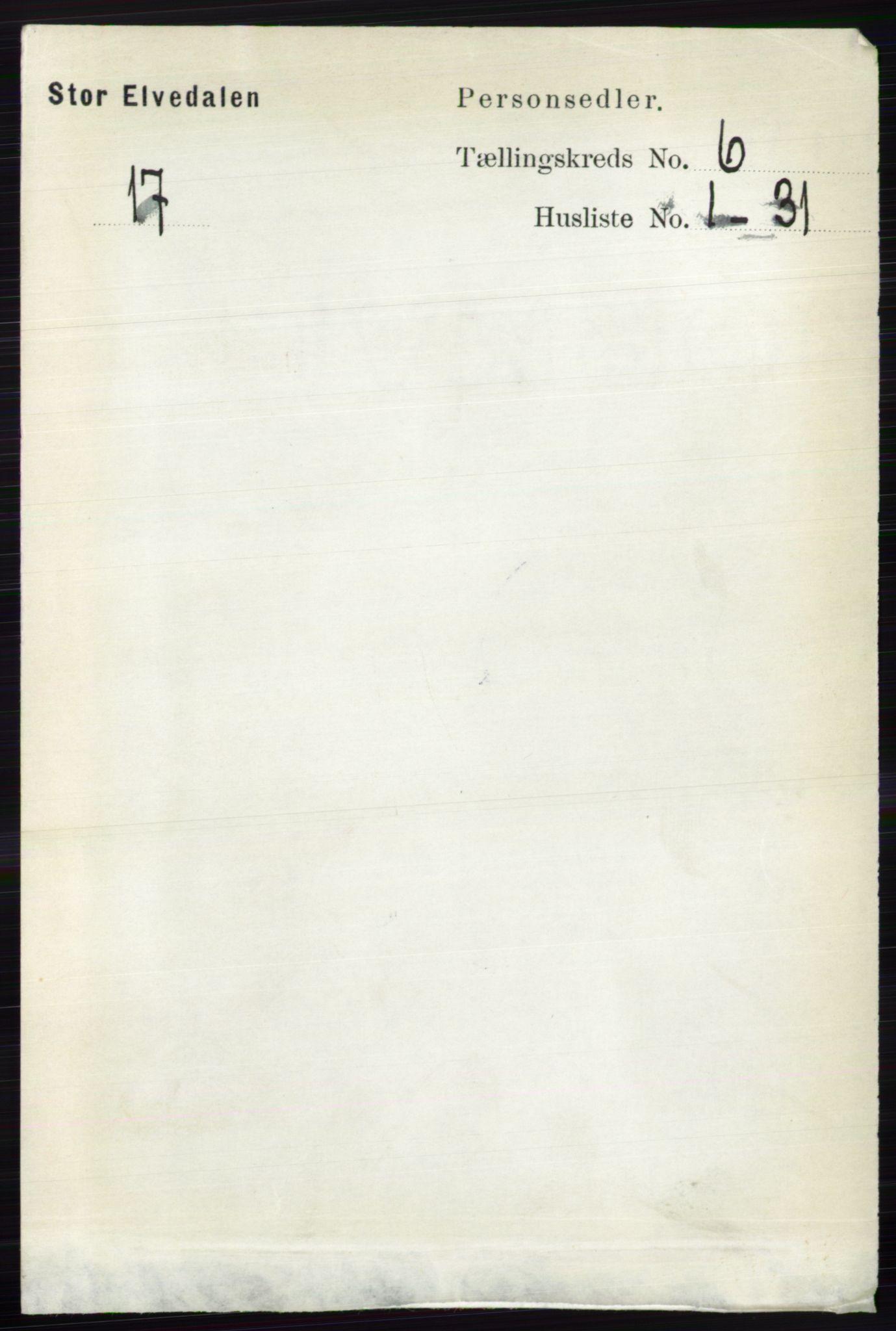 RA, Folketelling 1891 for 0430 Stor-Elvdal herred, 1891, s. 2100