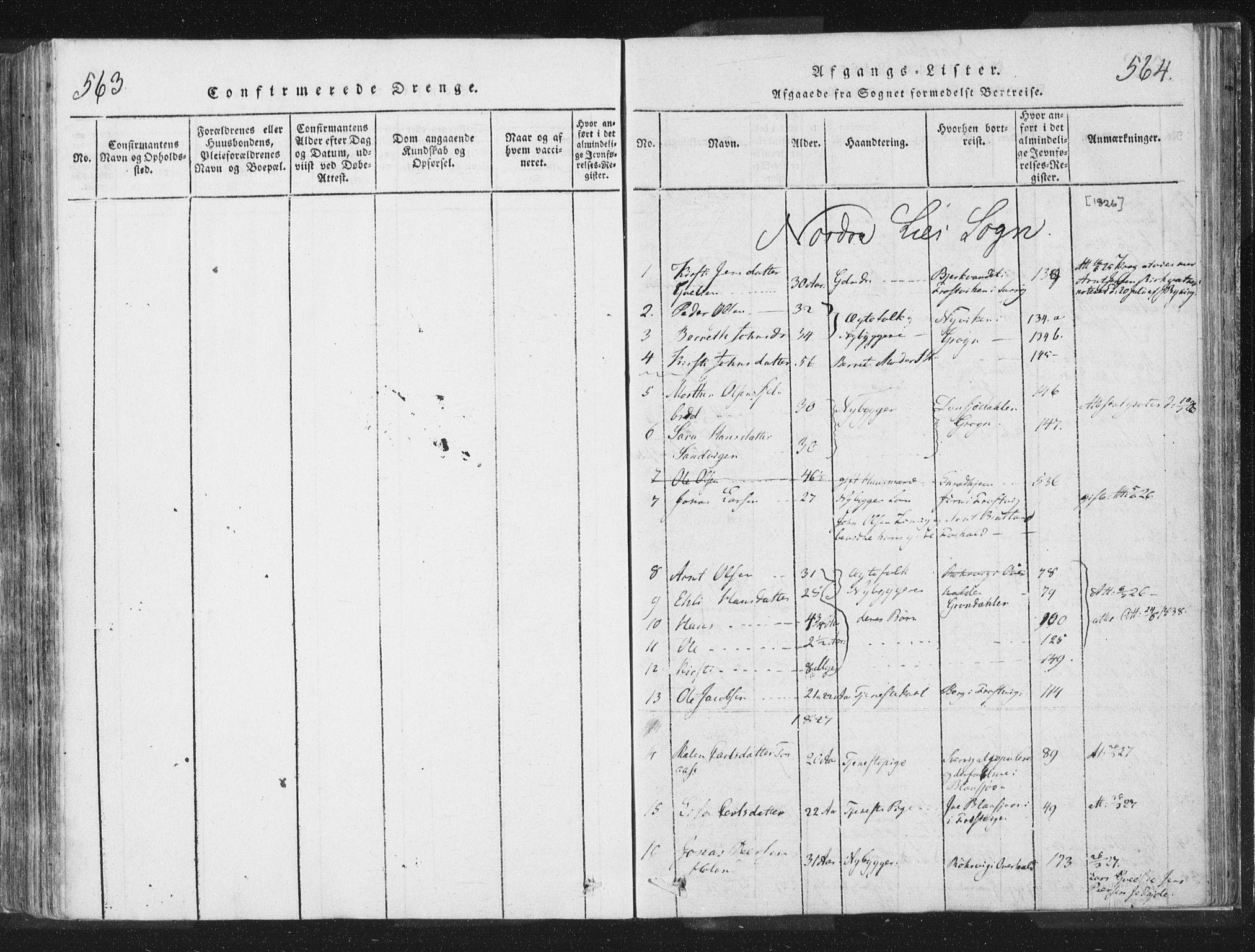 SAT, Ministerialprotokoller, klokkerbøker og fødselsregistre - Nord-Trøndelag, 755/L0491: Ministerialbok nr. 755A01 /1, 1817-1864, s. 563-564