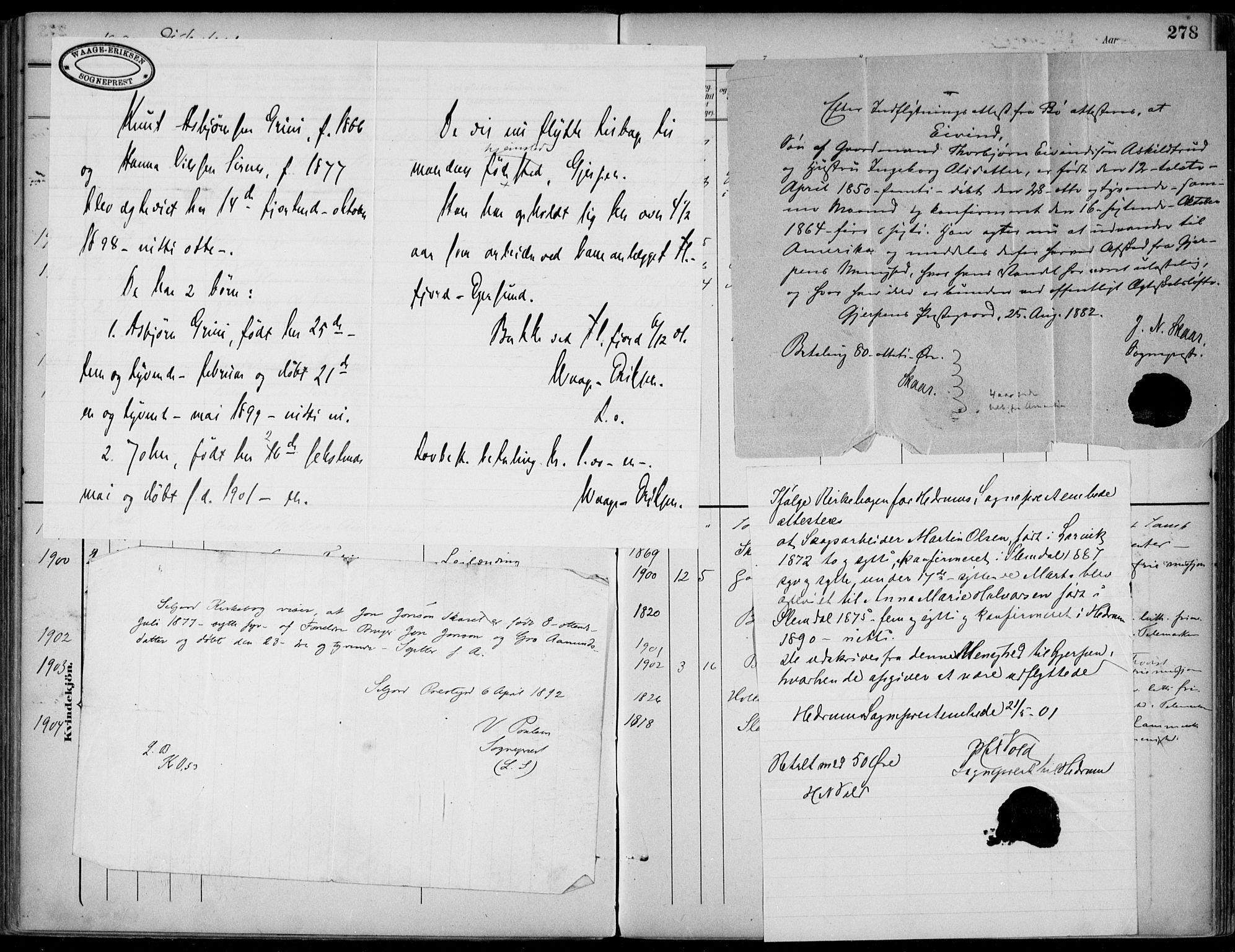 SAKO, Gjerpen kirkebøker, F/Fa/L0011: Ministerialbok nr. 11, 1896-1904, s. 278