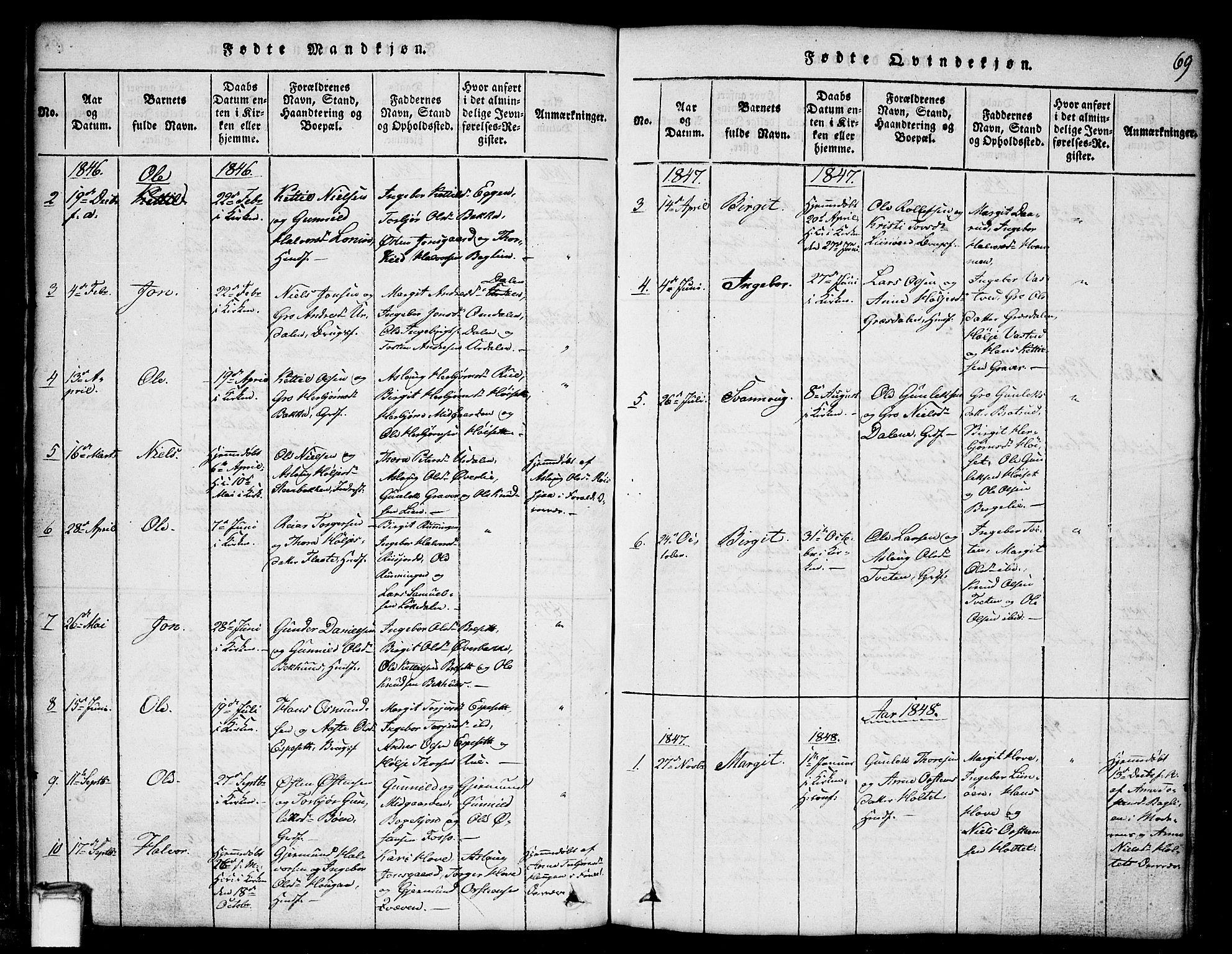 SAKO, Gransherad kirkebøker, G/Gb/L0001: Klokkerbok nr. II 1, 1815-1860, s. 69