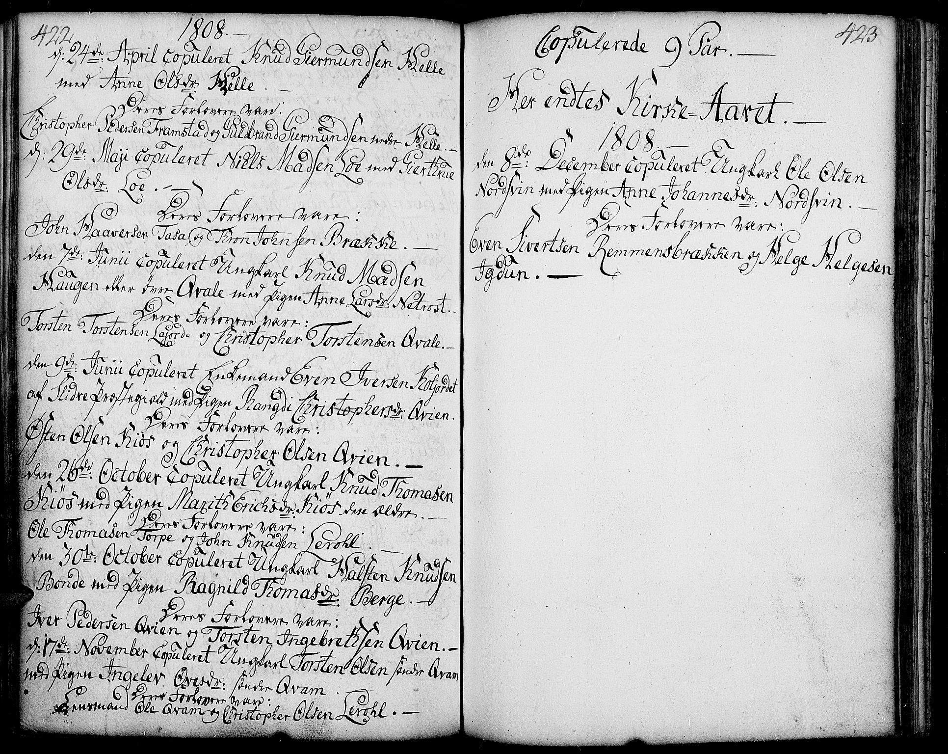 SAH, Vang prestekontor, Valdres, Ministerialbok nr. 2, 1796-1808, s. 422-423