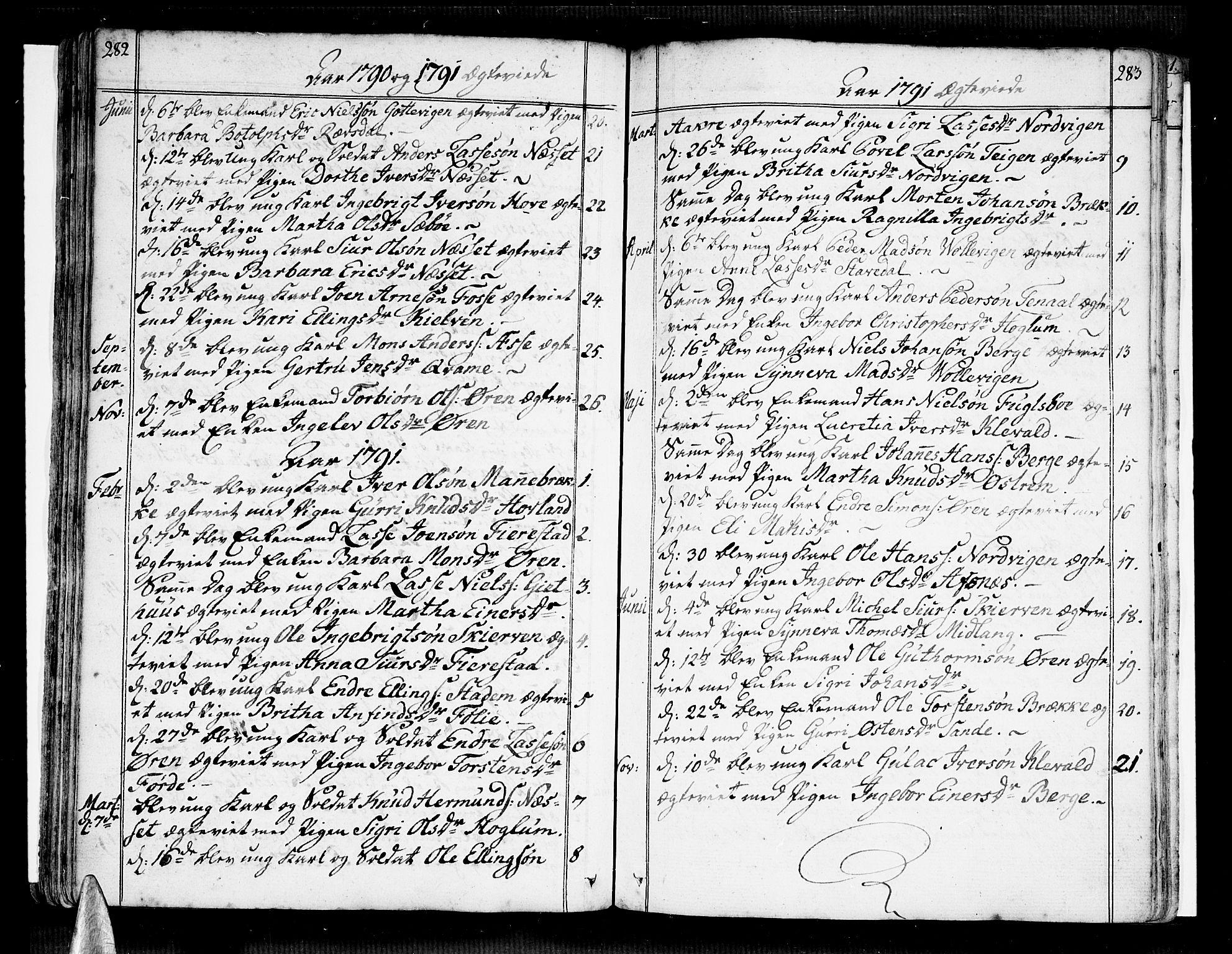 SAB, Vik Sokneprestembete, Ministerialbok nr. A 5, 1787-1820, s. 282-283