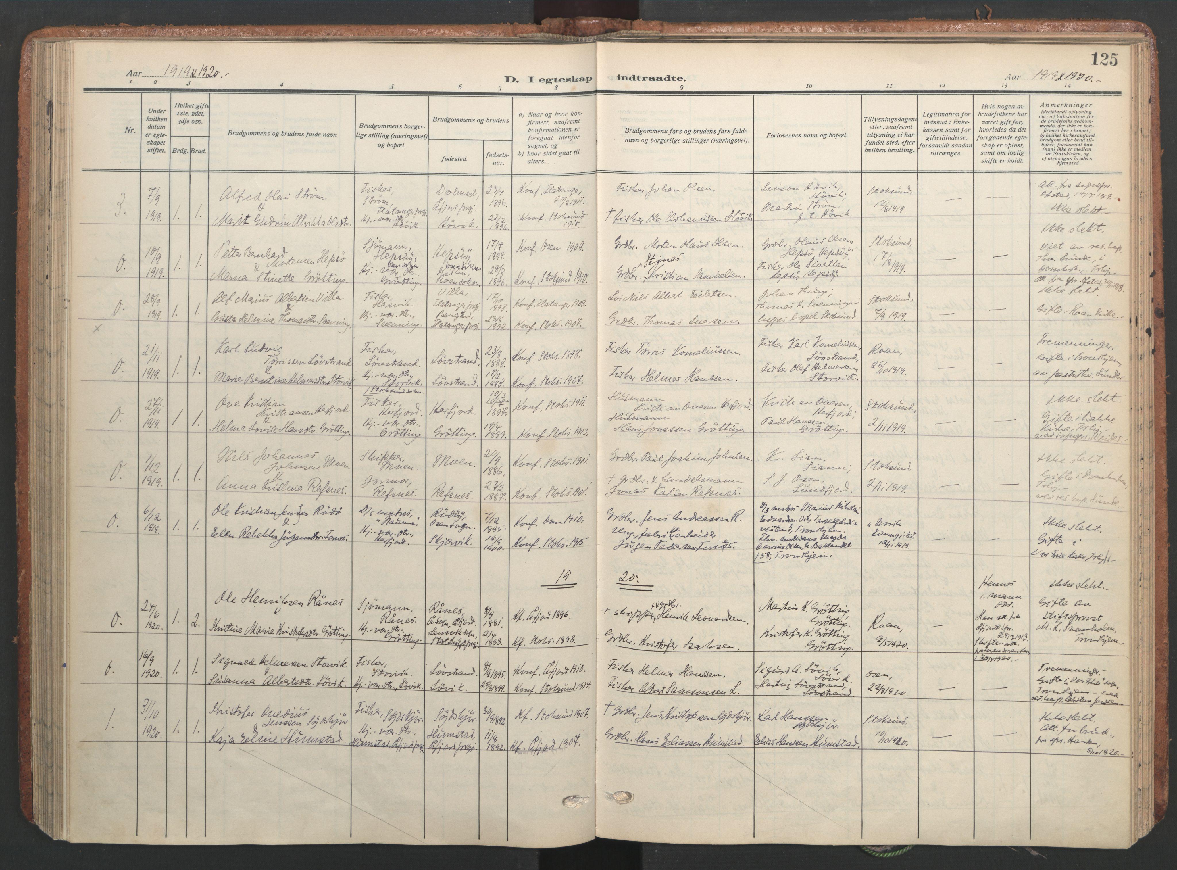 SAT, Ministerialprotokoller, klokkerbøker og fødselsregistre - Sør-Trøndelag, 656/L0694: Ministerialbok nr. 656A03, 1914-1931, s. 125