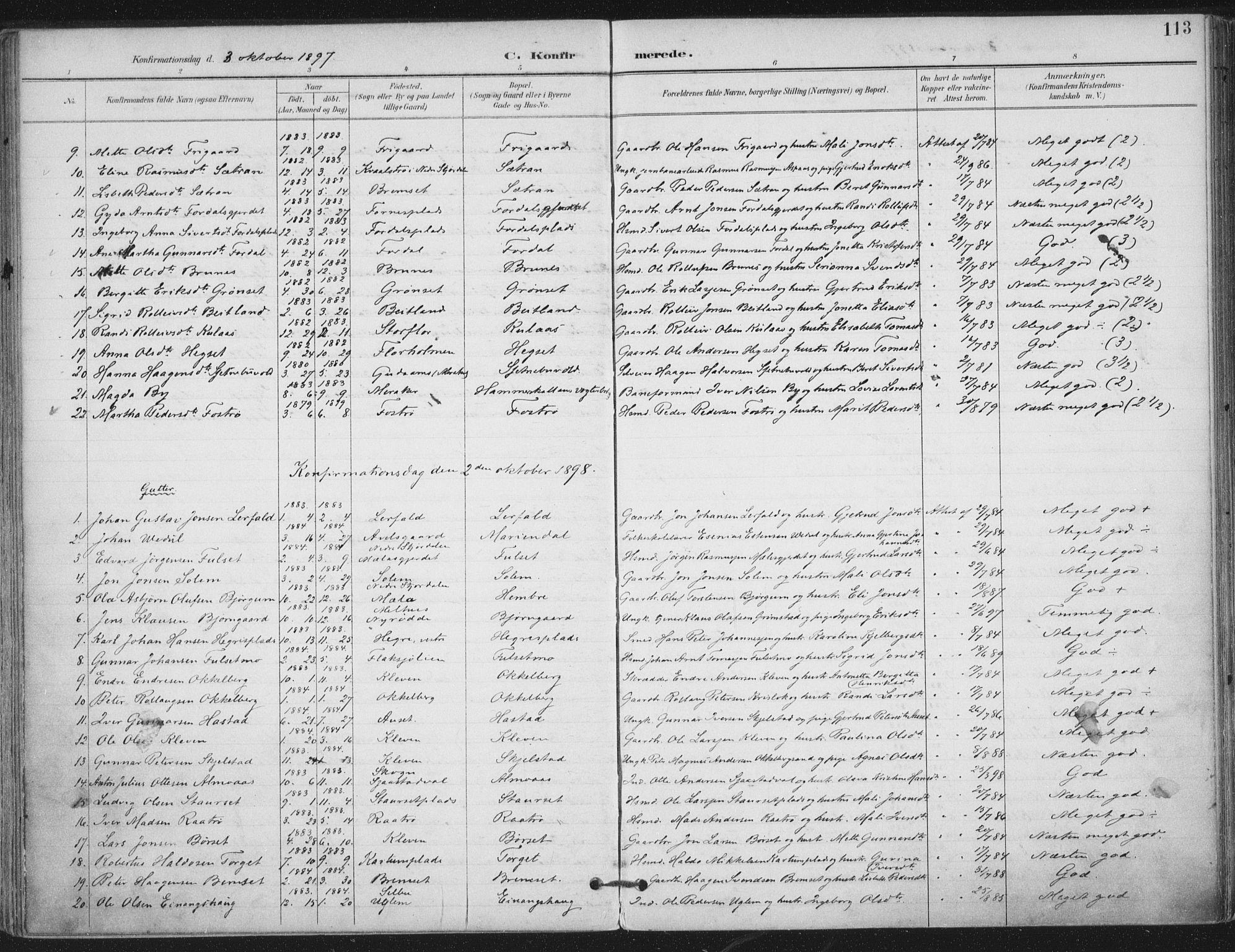 SAT, Ministerialprotokoller, klokkerbøker og fødselsregistre - Nord-Trøndelag, 703/L0031: Ministerialbok nr. 703A04, 1893-1914, s. 113