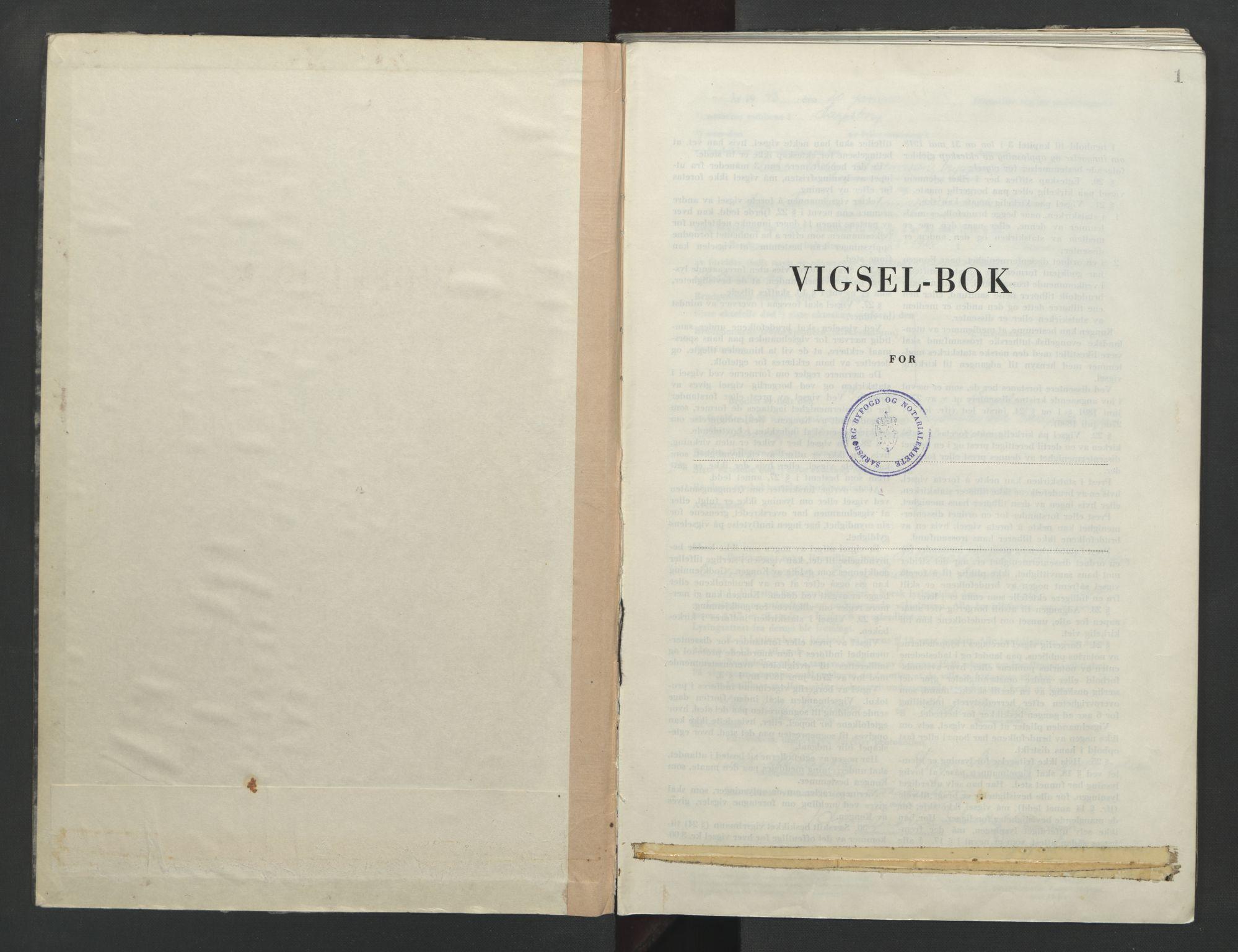 SAO, Sarpsborg byfogd, L/Lb/Lba/L0004: Vigselbok, 1945-1952, s. 1