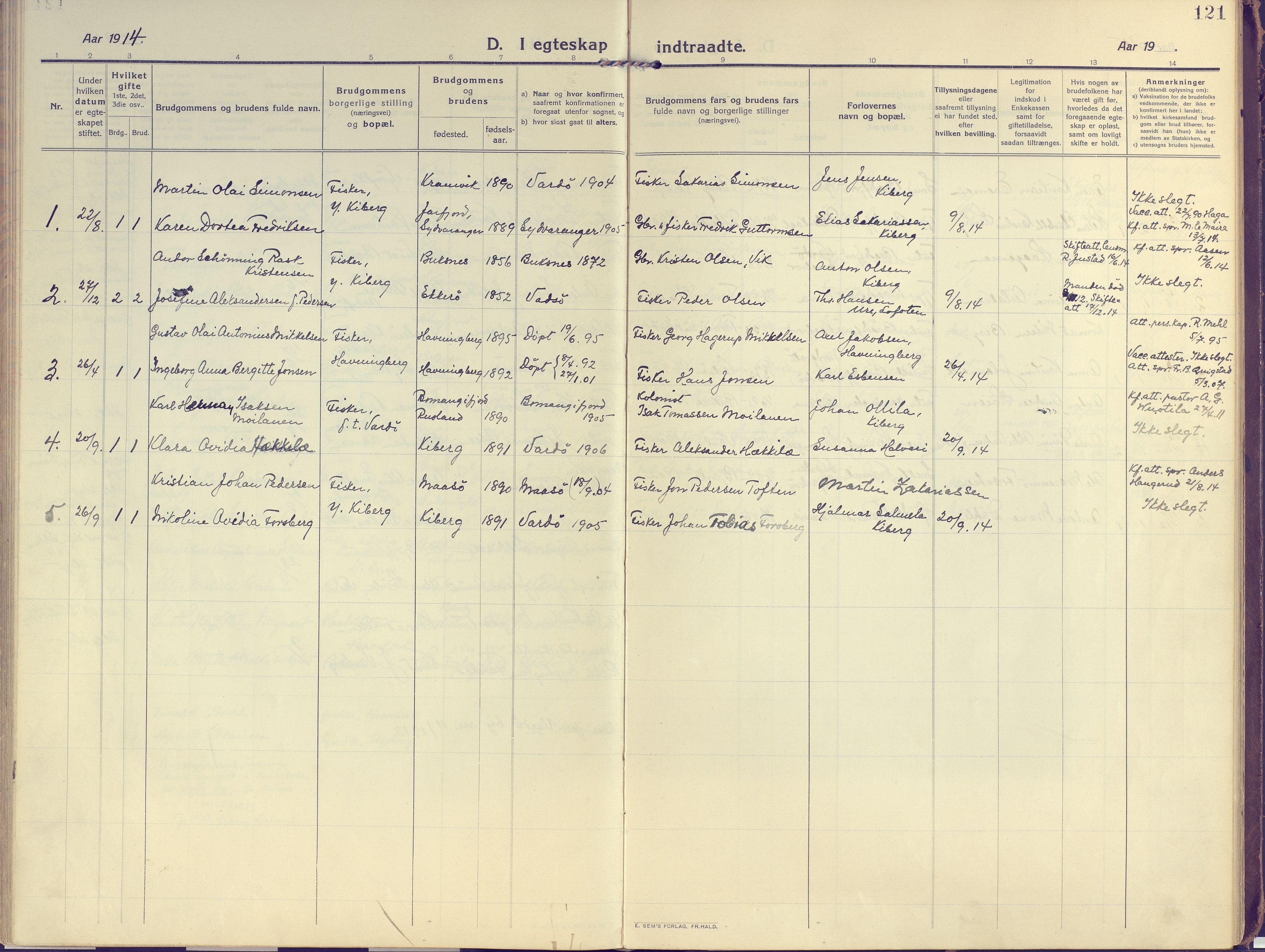 SATØ, Vardø sokneprestkontor, H/Ha/L0013kirke: Ministerialbok nr. 13, 1912-1928, s. 121